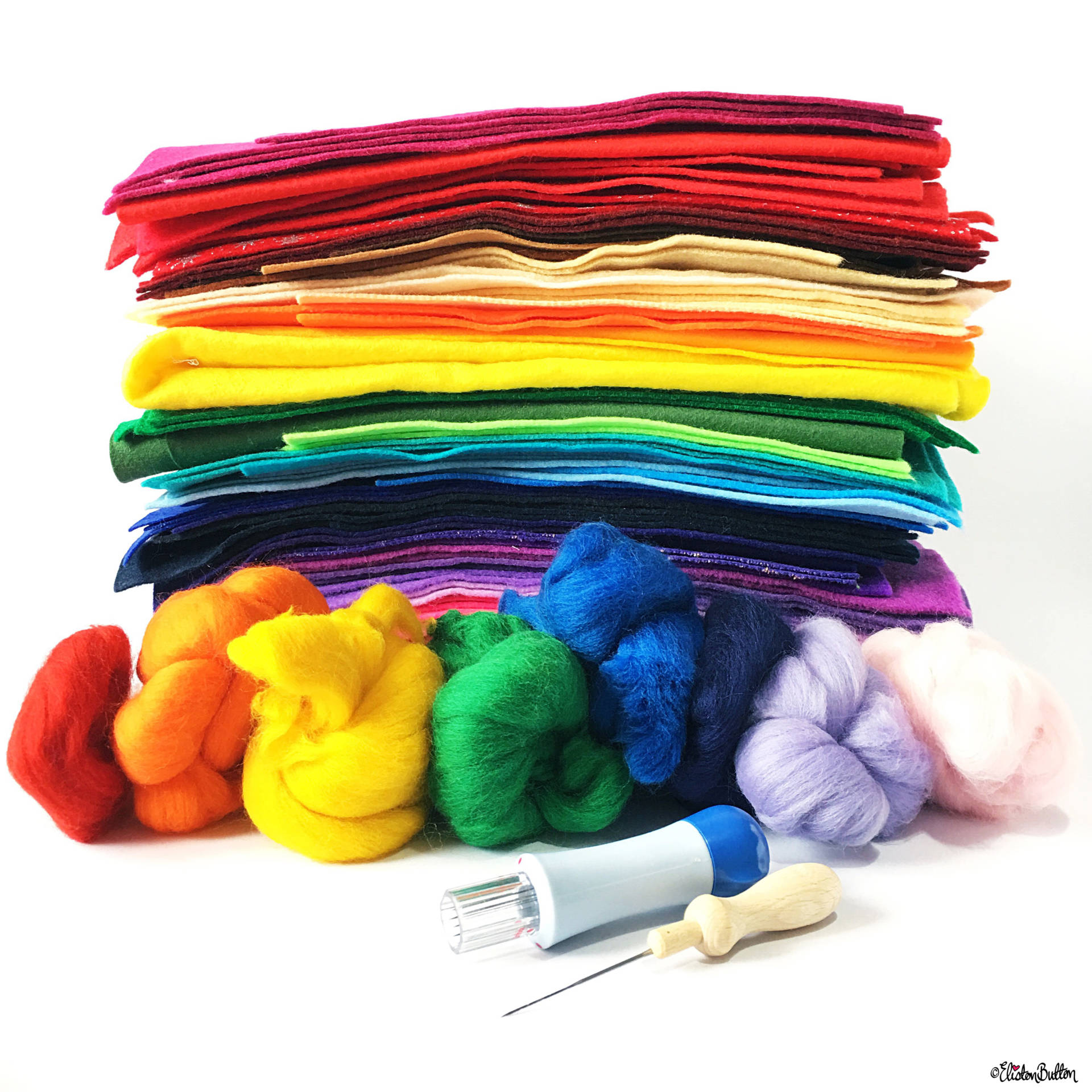 Day 06...F is For...Felt - A Rainbow of Felt and Felting Merino Wool Tops - Photo-a-Day - July 2016 - Eliston Button A-Z of Craft at www.elistonbutton.com - Eliston Button - That Crafty Kid – Art, Design, Craft & Adventure.