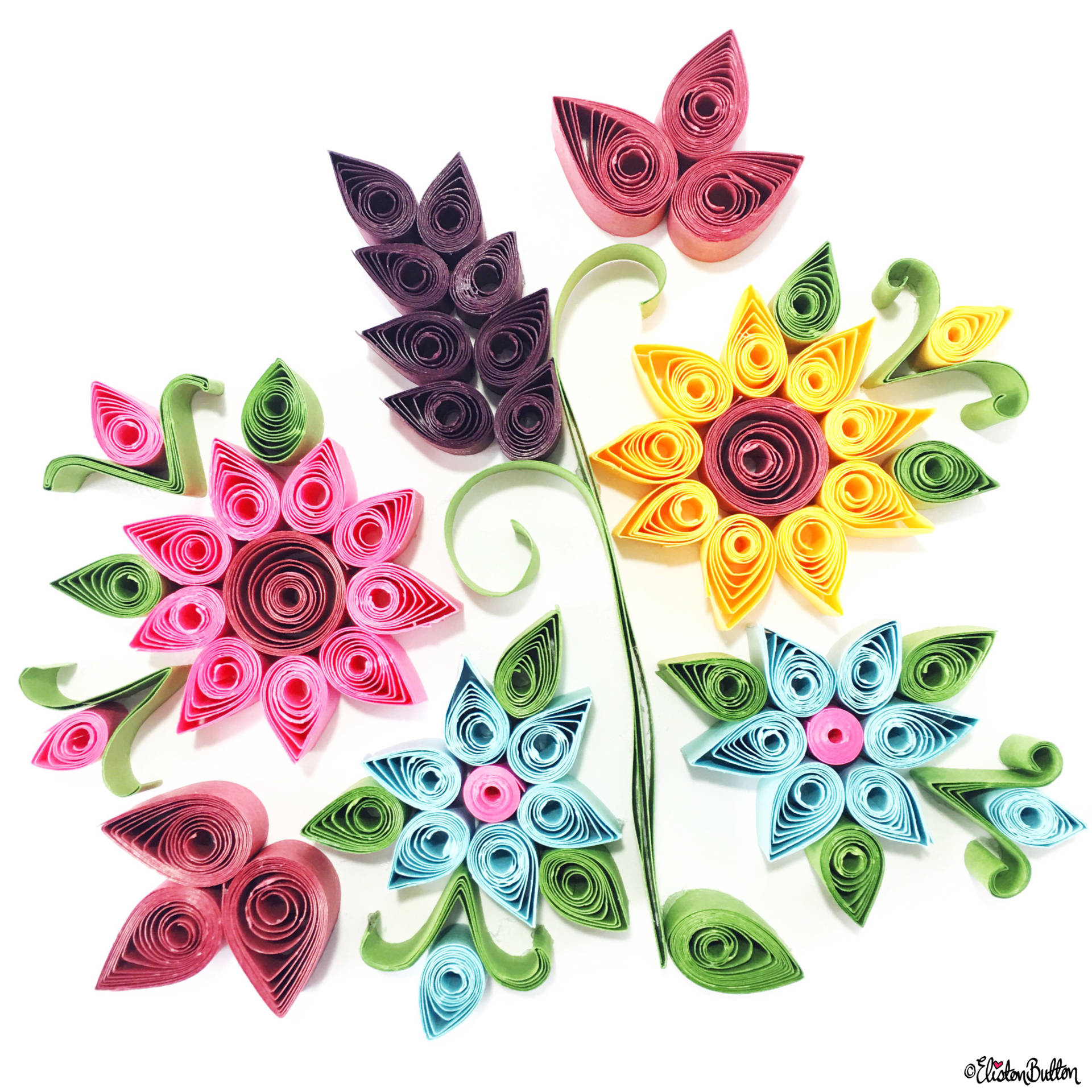 Day 17 - Q is For...Quilling - Pretty Paper Flowers - Photo-a-Day - July 2016 - Eliston Button A-Z of Craft at www.elistonbutton.com - Eliston Button - That Crafty Kid – Art, Design, Craft & Adventure.