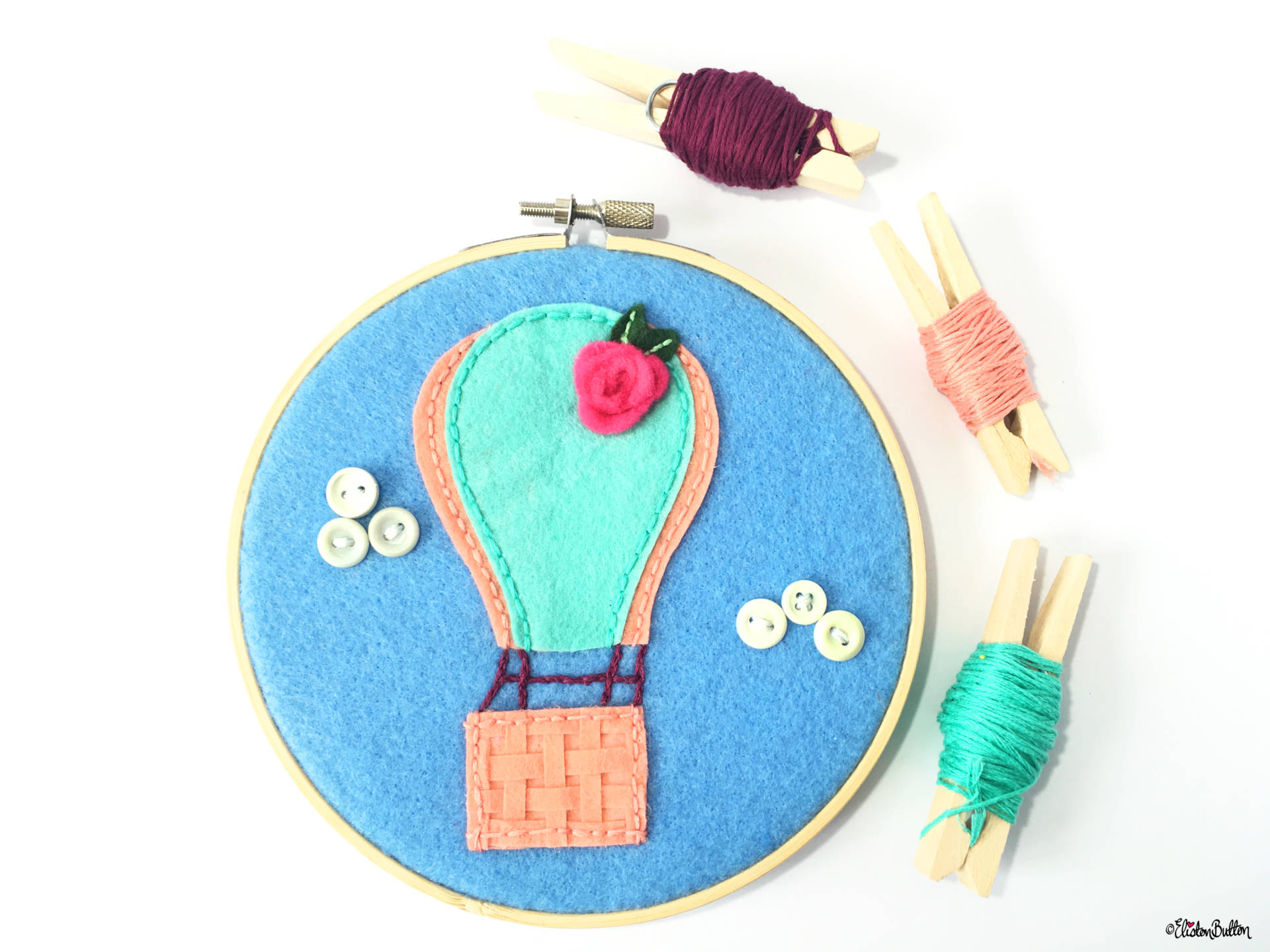Hot Air Balloon Embroidery Hoop with Embroidery Thread Colour Palette - Create 30 - No.1 - Hot Air Balloon Embroidery Hoop - Eliston Button A-Z of Craft at www.elistonbutton.com - Eliston Button - That Crafty Kid – Art, Design, Craft & Adventure.