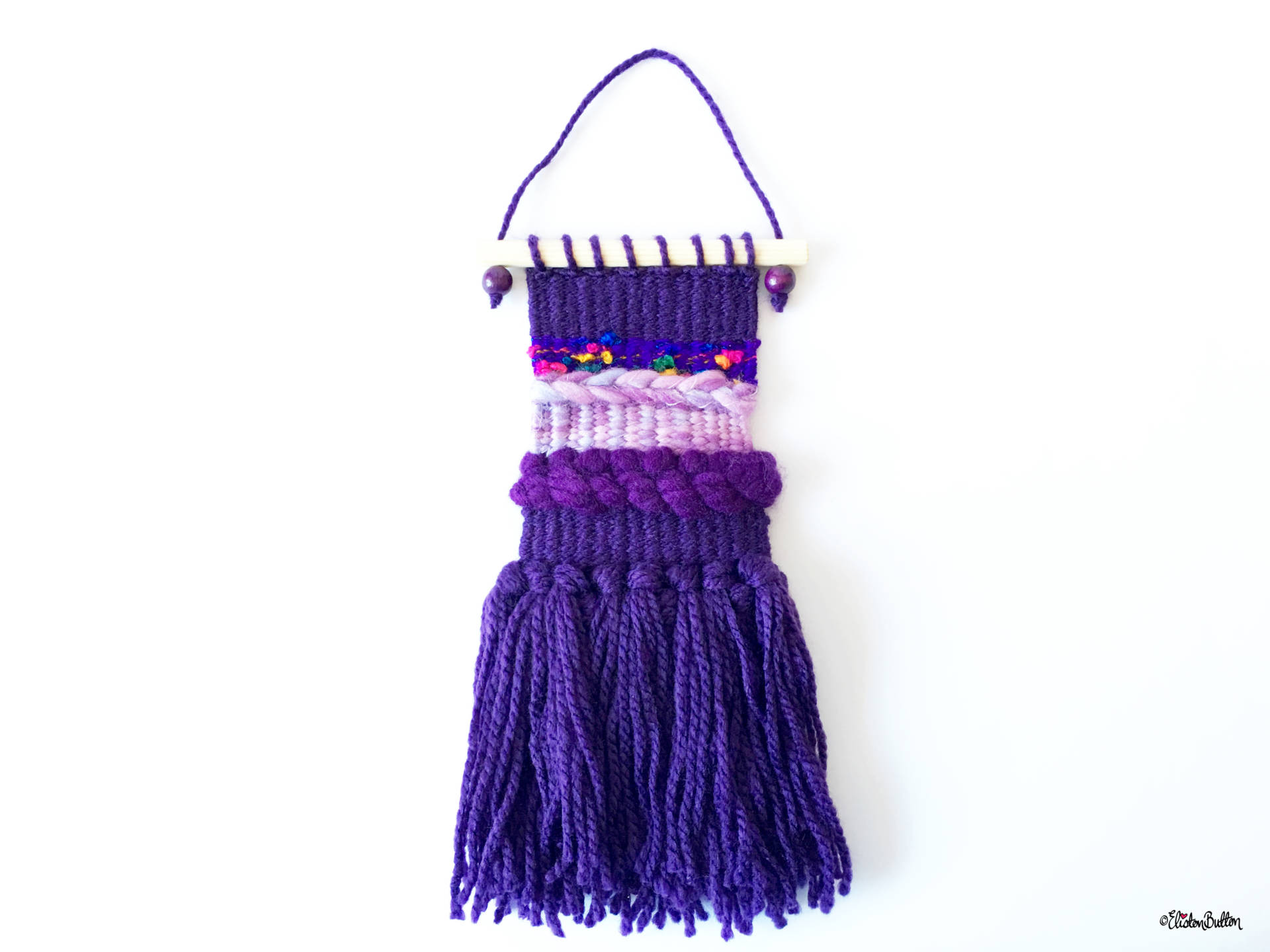 Purple and Pale Purple Mini Woven Wall Hanging in Full - Create 30 - No.2 - Mini Woven Wall Hangings at www.elistonbutton.com - Eliston Button - That Crafty Kid – Art, Design, Craft & Adventure.