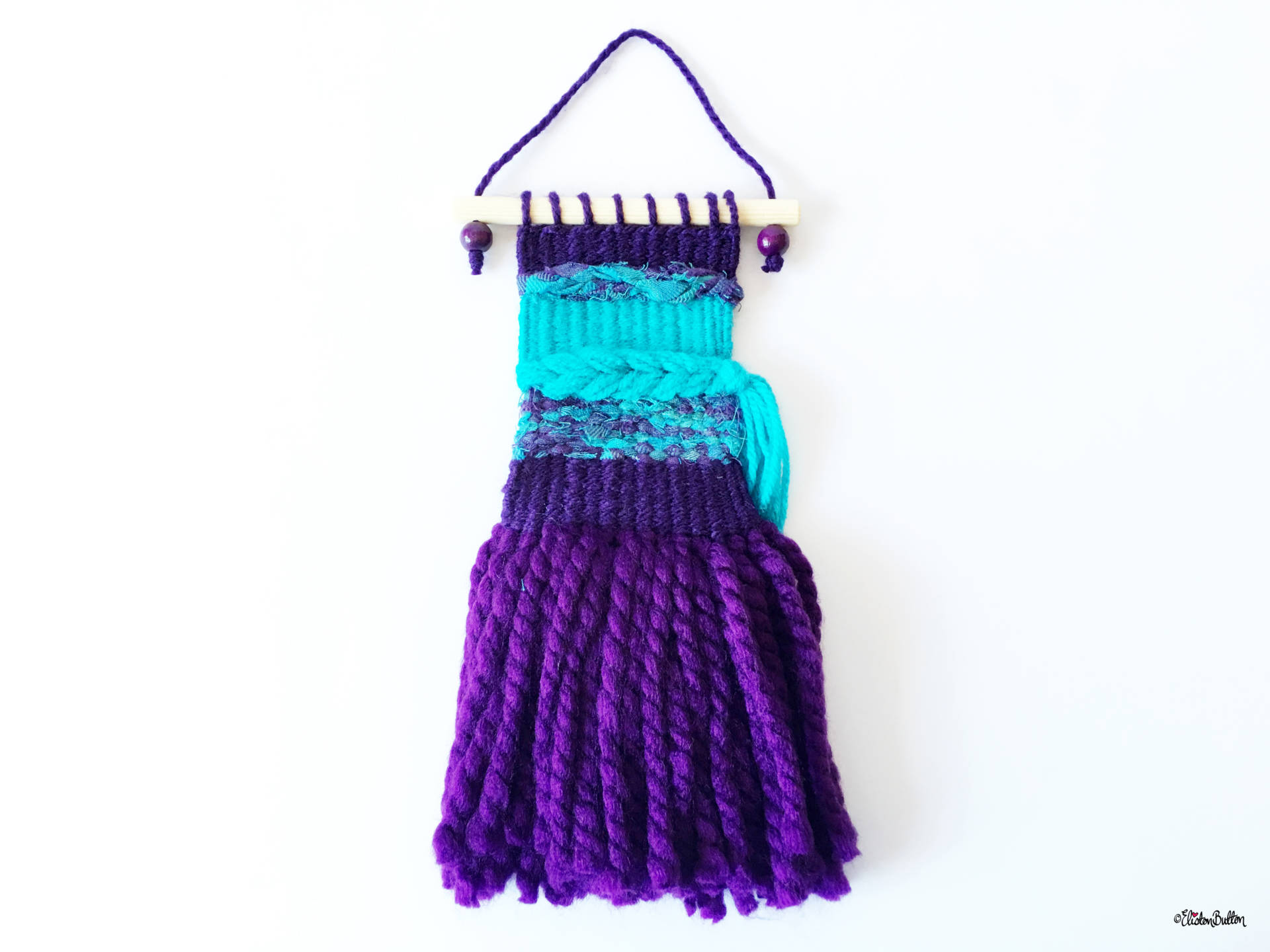 Purple and Turquoise Mini Woven Wall Hanging in Full - Create 30 - No.2 - Mini Woven Wall Hangings at www.elistonbutton.com - Eliston Button - That Crafty Kid – Art, Design, Craft & Adventure.