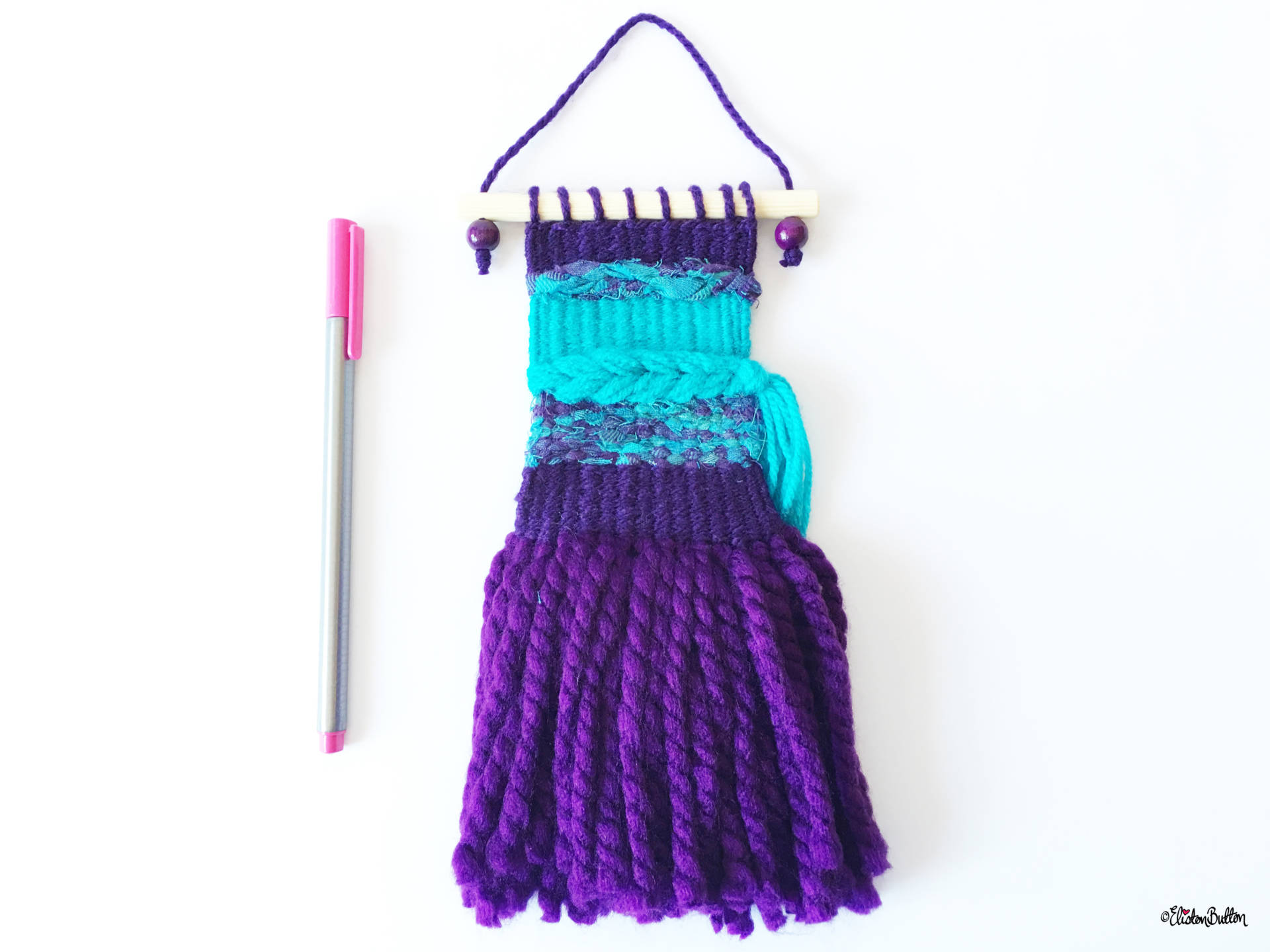 Purple and Turquoise Mini Woven Wall Hanging with Pen for Size Comparison - Create 30 - No.2 - Mini Woven Wall Hangings at www.elistonbutton.com - Eliston Button - That Crafty Kid – Art, Design, Craft & Adventure.