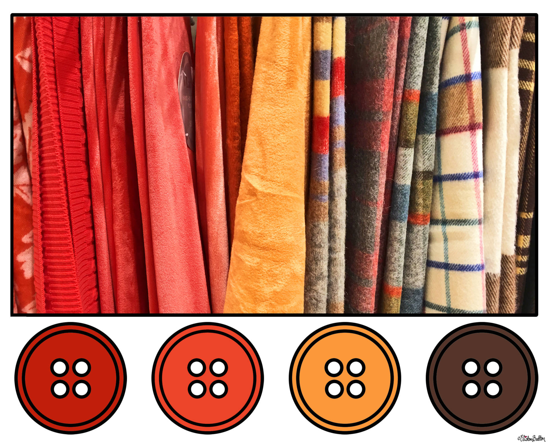 Autumnal Red, Orange, Yellow and Brown Fabric Button Colour Palette - Button Colour Adventure – Part 4 – Goodbye Summer, Hello Autumn… at www.elistonbutton.com - Eliston Button - That Crafty Kid – Art, Design, Craft & Adventure.