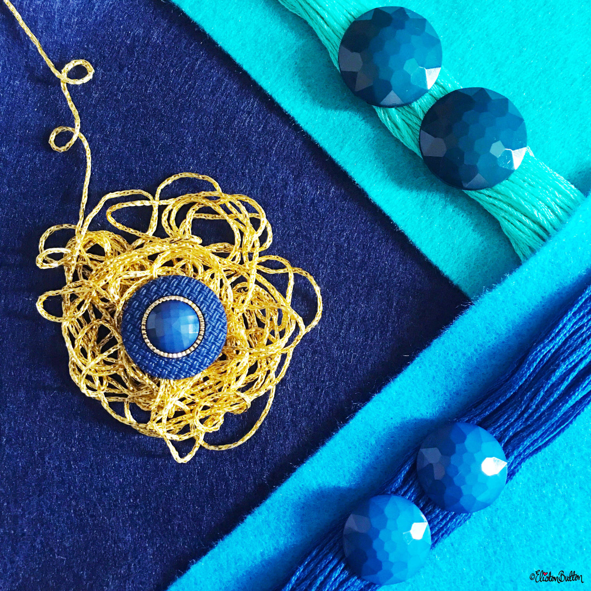 Blue, Turquoise and Gold Button and Felt Colour Palette - Around Here…August 2016 at www.elistonbutton.com - Eliston Button - That Crafty Kid – Art, Design, Craft & Adventure.