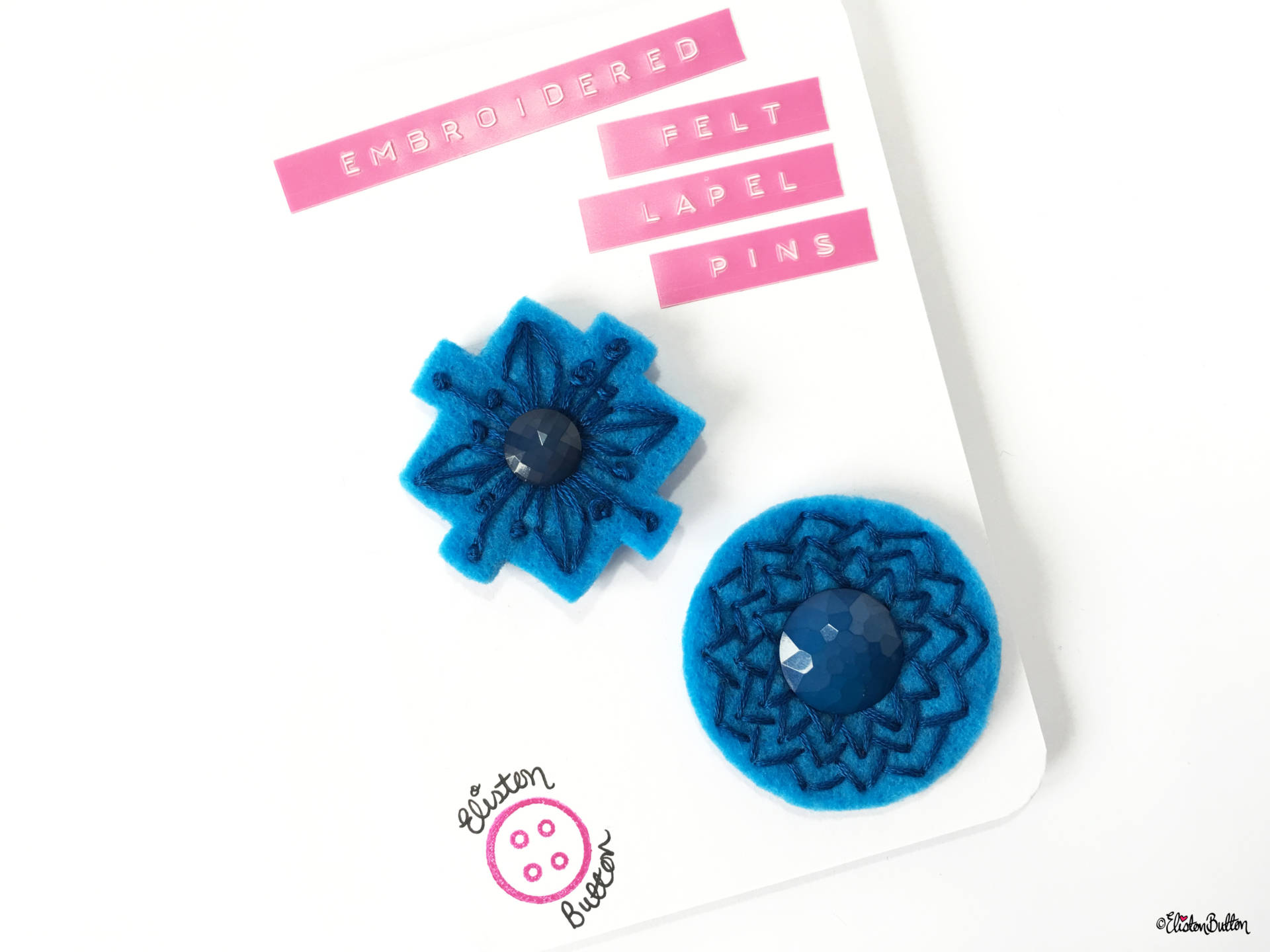 Blue and Teal Embroidered Felt Lapel Pins - Set of 2 on Backing Card - Create 30 - No. 5, 6, & 7 - Embroidered Felt Lapel Pins at www.elistonbutton.com - Eliston Button - That Crafty Kid – Art, Design, Craft & Adventure.