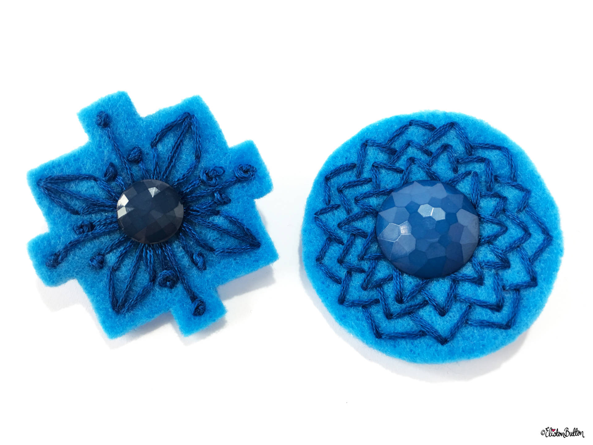 Blue and Teal Embroidered Felt Lapel Pins - Set of 2 - Create 30 - No. 5, 6, & 7 - Embroidered Felt Lapel Pins at www.elistonbutton.com - Eliston Button - That Crafty Kid – Art, Design, Craft & Adventure.