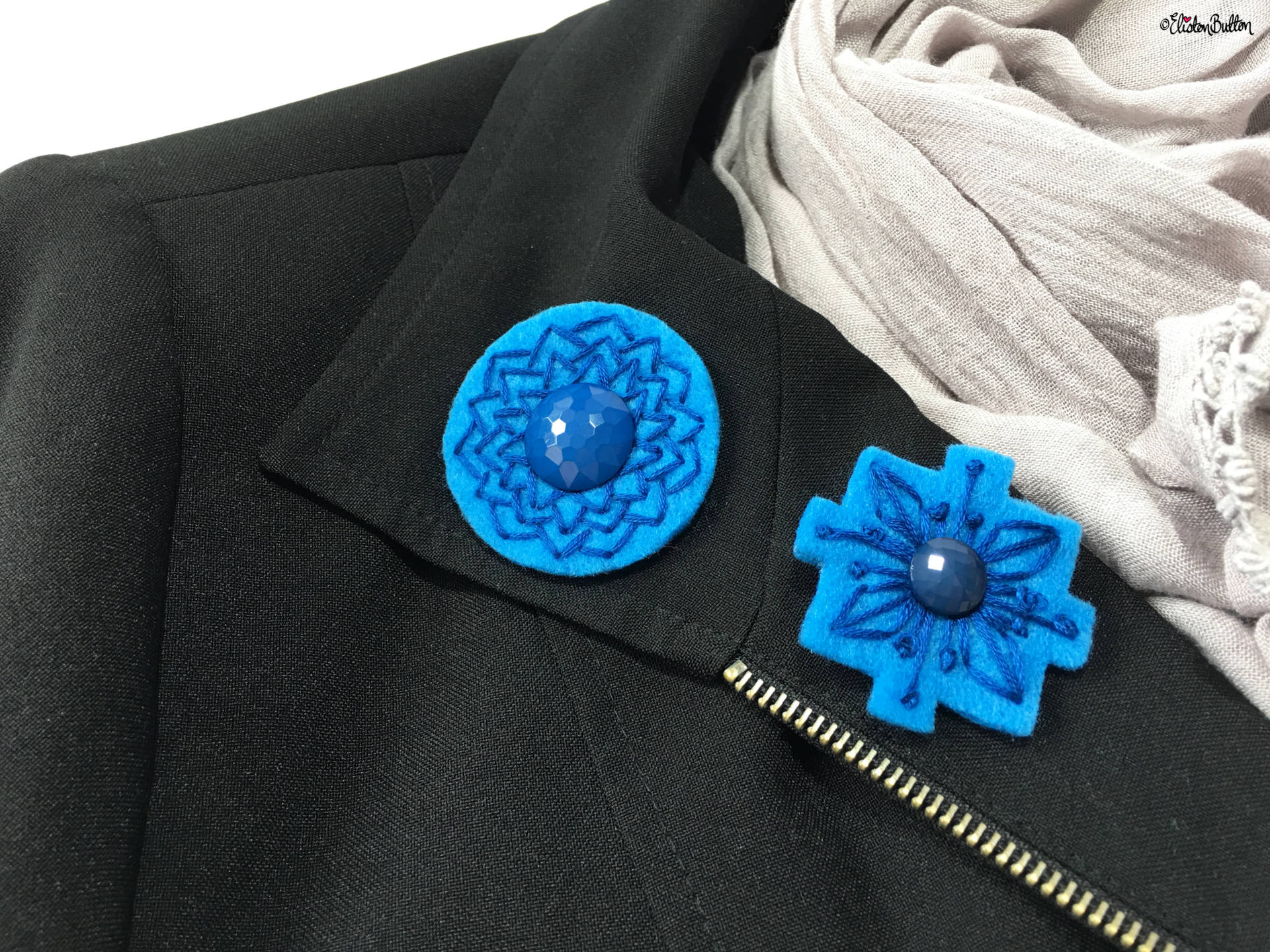 Blue and Teal Embroidered Felt Lapel Pins on a Blazer Lapel - Create 30 - No. 5, 6, & 7 - Embroidered Felt Lapel Pins at www.elistonbutton.com - Eliston Button - That Crafty Kid – Art, Design, Craft & Adventure.