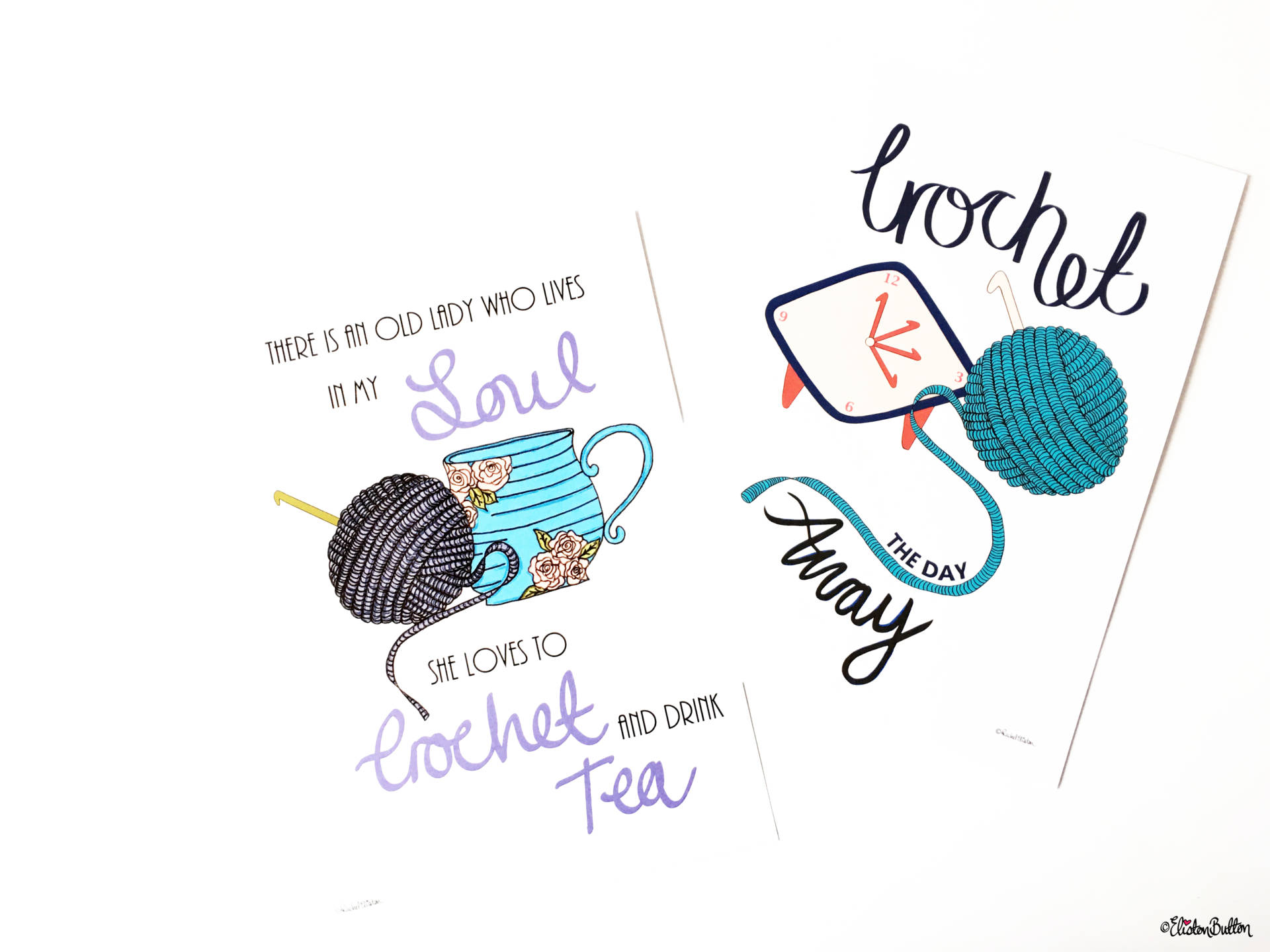 Crochet Illustrated Quote Prints by Eliston Button - Create 30 – No. 3 & 4 – Crochet Illustrated Quote Prints at www.elistonbutton.com - Eliston Button - That Crafty Kid – Art, Design, Craft & Adventure.
