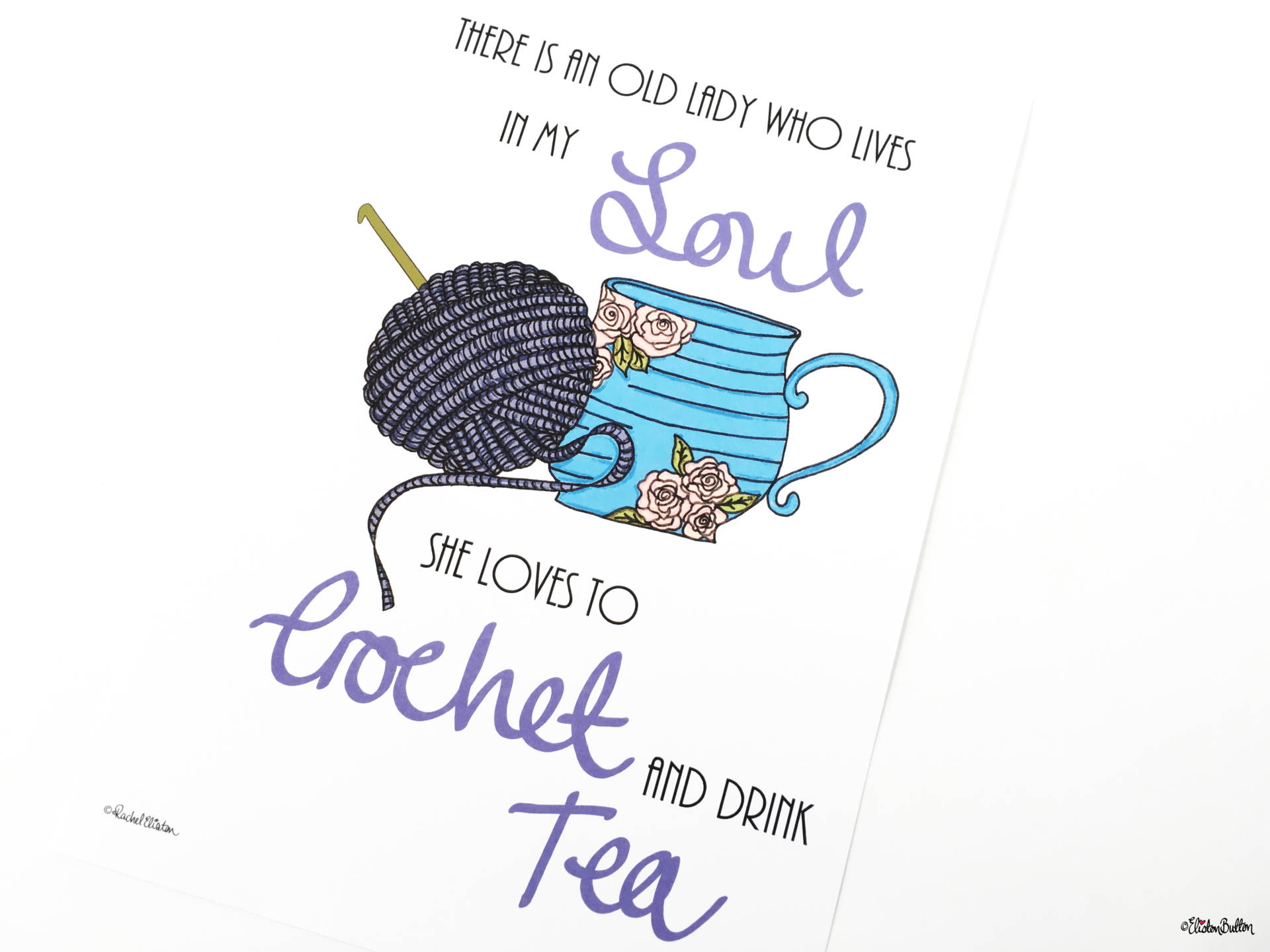 Crochet and Drink Tea Wall Art Print by Eliston Button Angled View - Create 30 – No. 3 & 4 – Crochet Illustrated Quote Prints at www.elistonbutton.com - Eliston Button - That Crafty Kid – Art, Design, Craft & Adventure.