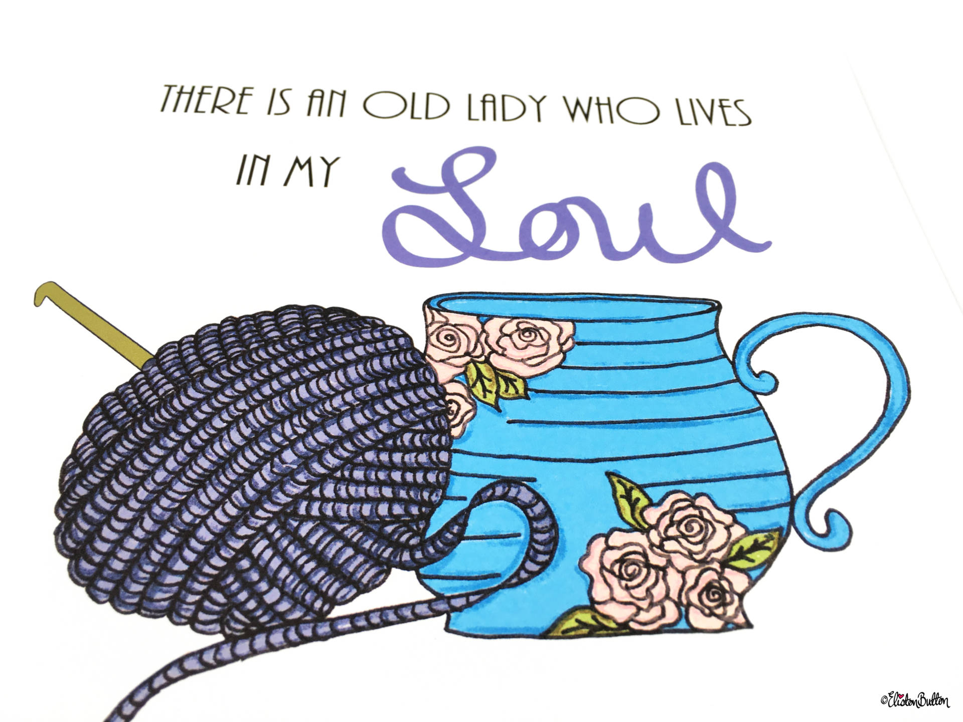 Crochet and Drink Tea Wall Art Print by Eliston Button Tea Cup and Yarn Illustration - Create 30 – No. 3 & 4 – Crochet Illustrated Quote Prints at www.elistonbutton.com - Eliston Button - That Crafty Kid – Art, Design, Craft & Adventure.