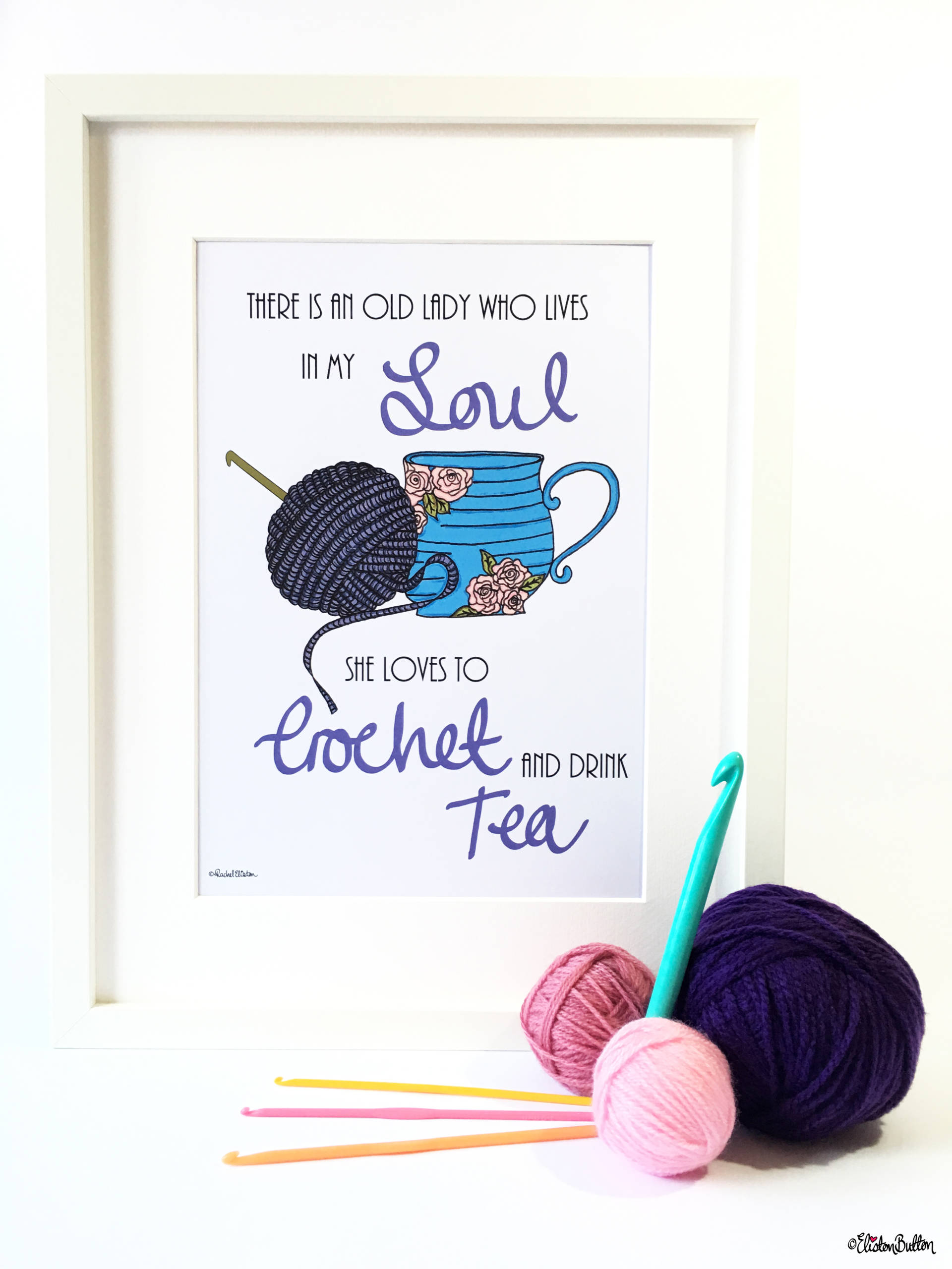 Crochet and Drink Tea Wall Art Print by Eliston Button with Balls of Yarn and Crochet Hooks - Create 30 – No. 3 & 4 – Crochet Illustrated Quote Prints at www.elistonbutton.com - Eliston Button - That Crafty Kid – Art, Design, Craft & Adventure.