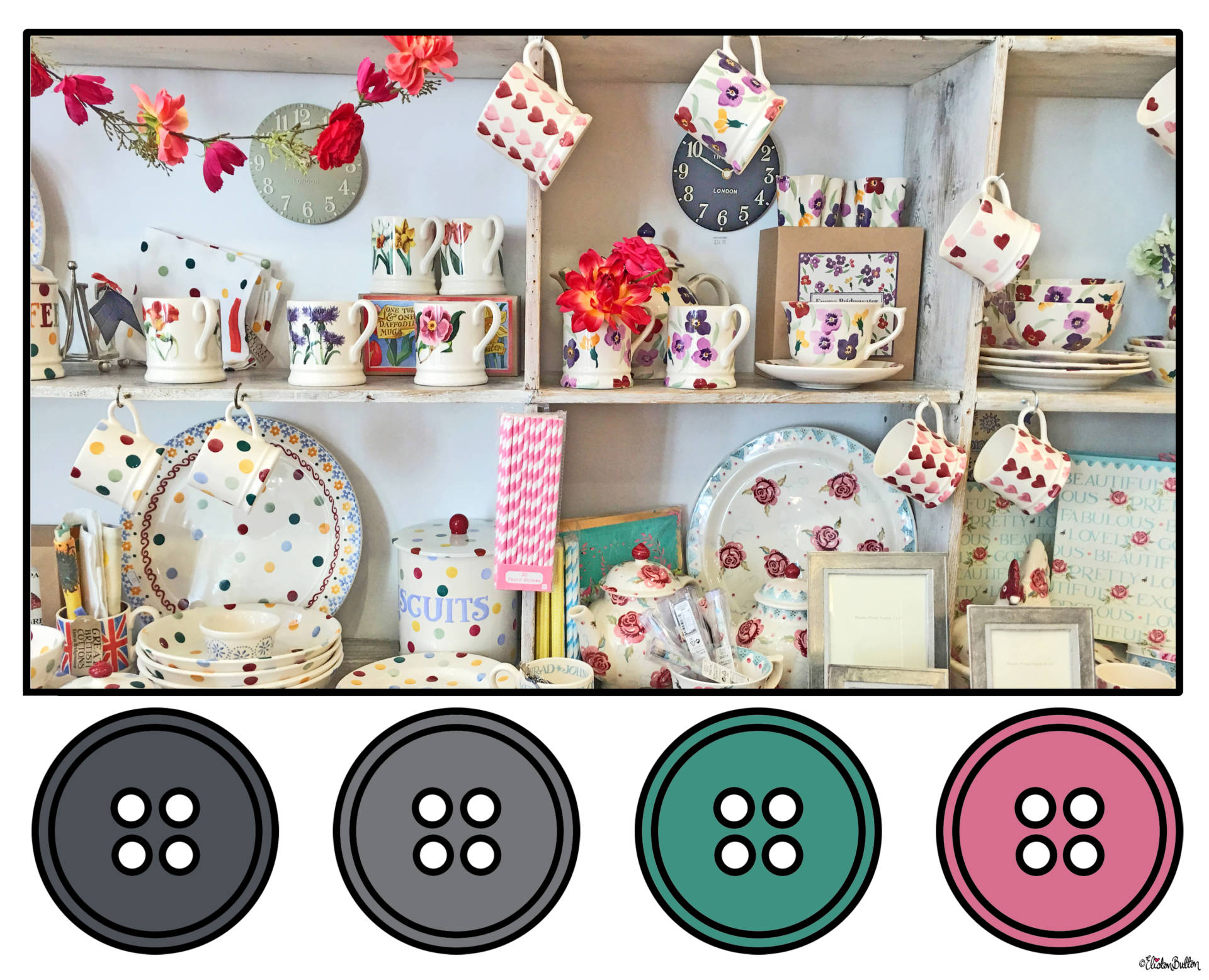 Grey, Pale Teal and Pink Gorgeous Shop Display in Cornicopia, Worcester, UK Button Colour Palette - Button Colour Adventure – Part 4 – Goodbye Summer, Hello Autumn… at www.elistonbutton.com - Eliston Button - That Crafty Kid – Art, Design, Craft & Adventure.