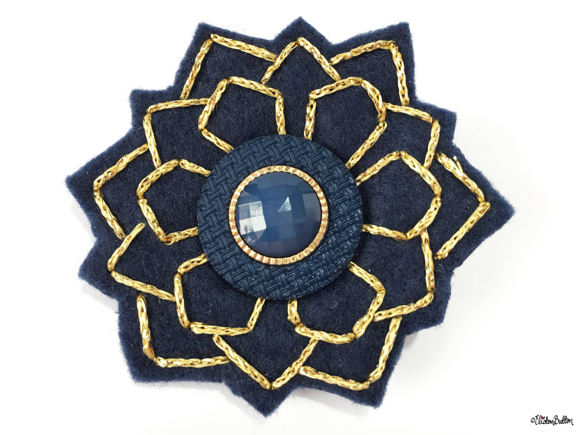 Navy Blue and Gold Embroidered Felt Art Deco Lapel Pin - Create 30 - No. 5, 6, & 7 - Embroidered Felt Lapel Pins at www.elistonbutton.com - Eliston Button - That Crafty Kid – Art, Design, Craft & Adventure.
