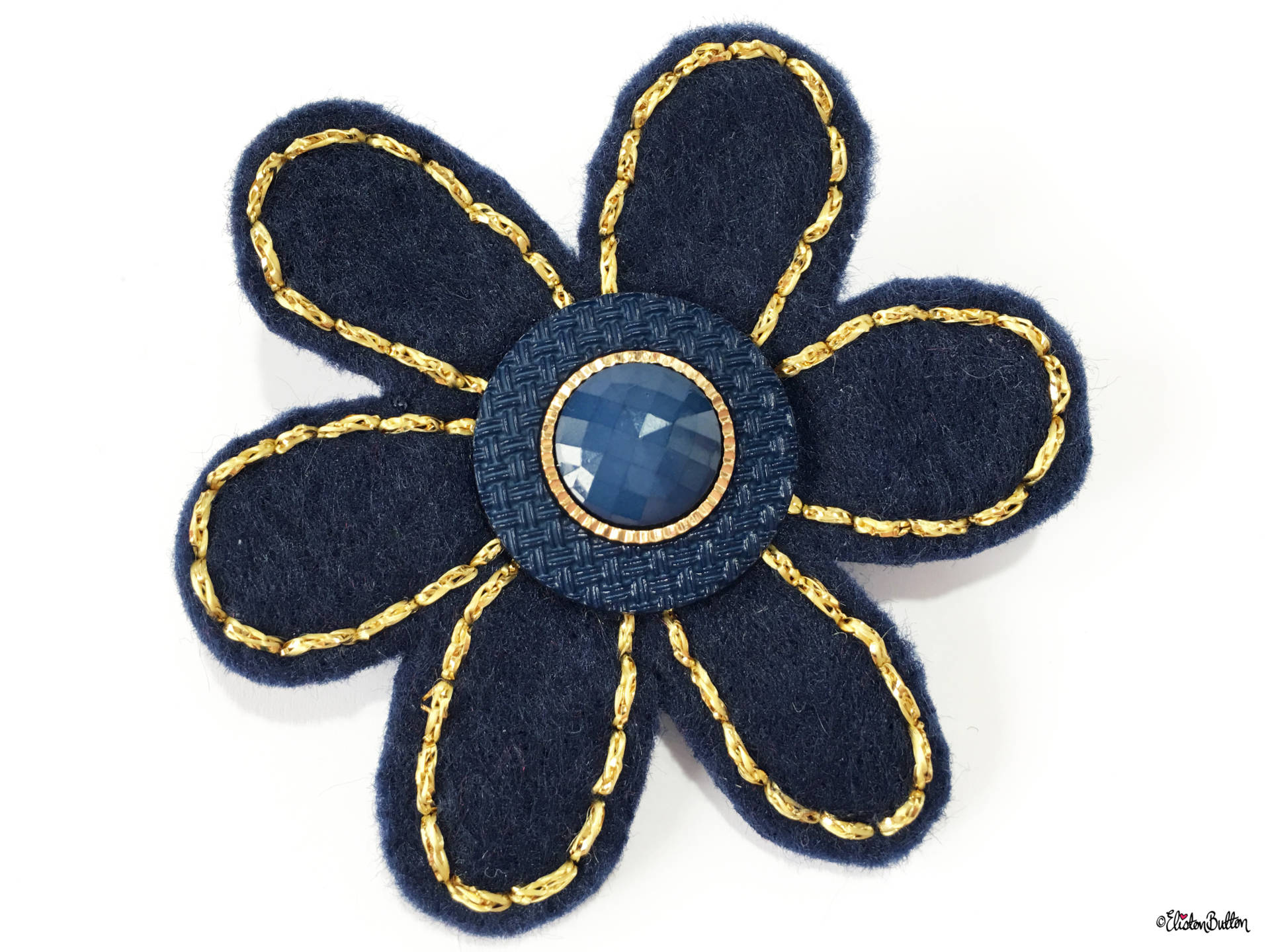 Navy Blue and Gold Embroidered Felt Flower Lapel Pin - Create 30 - No. 5, 6, & 7 - Embroidered Felt Lapel Pins at www.elistonbutton.com - Eliston Button - That Crafty Kid – Art, Design, Craft & Adventure.