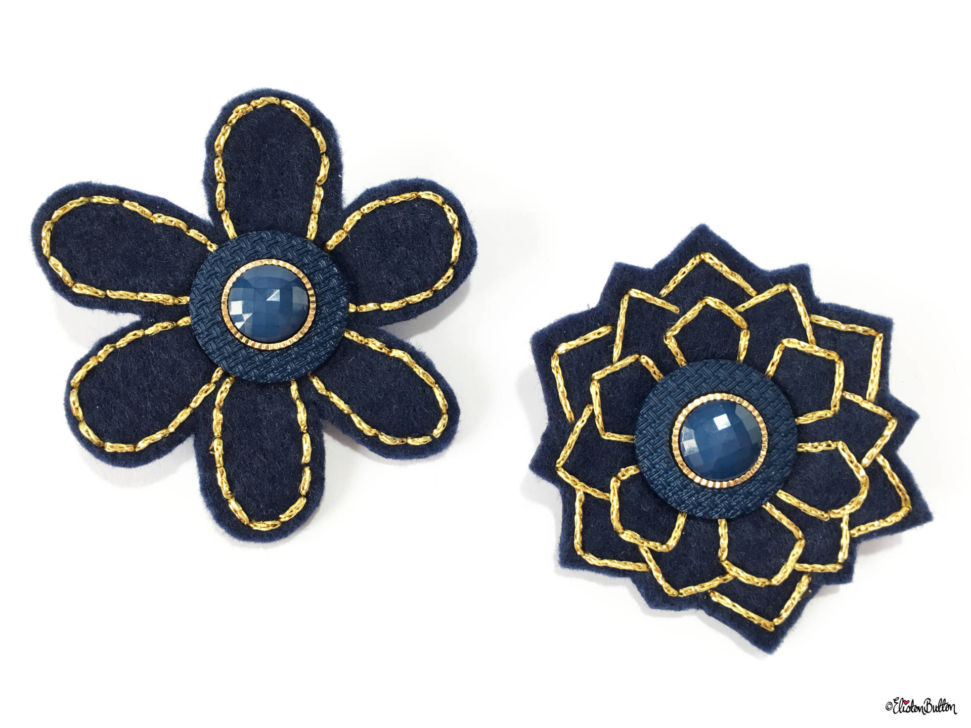 Navy Blue and Gold Embroidered Felt Lapel Pins - Create 30 - No. 5, 6, & 7 - Embroidered Felt Lapel Pins at www.elistonbutton.com - Eliston Button - That Crafty Kid – Art, Design, Craft & Adventure.