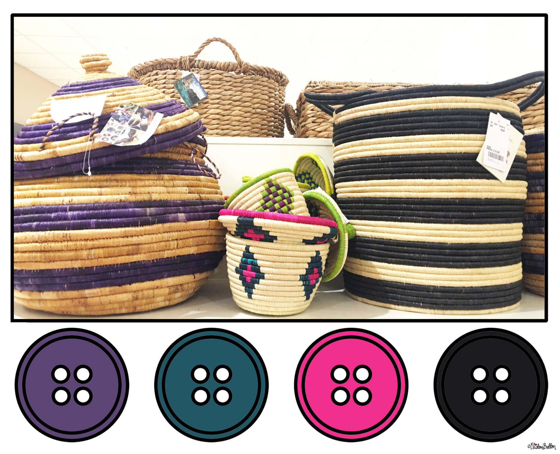 Purple, Teal, Pink and Black Baskets Button Colour Palette - Button Colour Adventure – Part 4 – Goodbye Summer, Hello Autumn… at www.elistonbutton.com - Eliston Button - That Crafty Kid – Art, Design, Craft & Adventure.