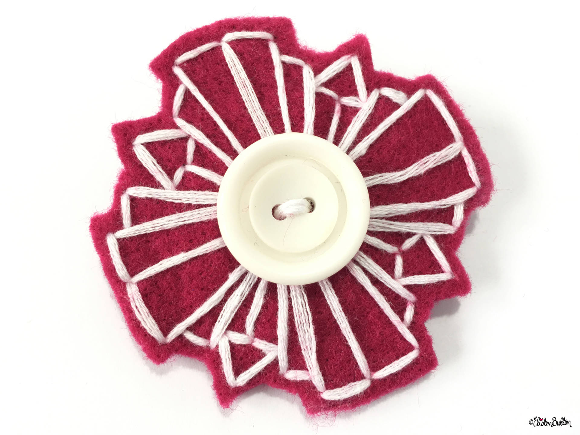 Raspberry Pink and White, Art Deco Inspried Embroidered Felt Lapel Pin - Create 30 - No. 5, 6, & 7 - Embroidered Felt Lapel Pins at www.elistonbutton.com - Eliston Button - That Crafty Kid – Art, Design, Craft & Adventure.