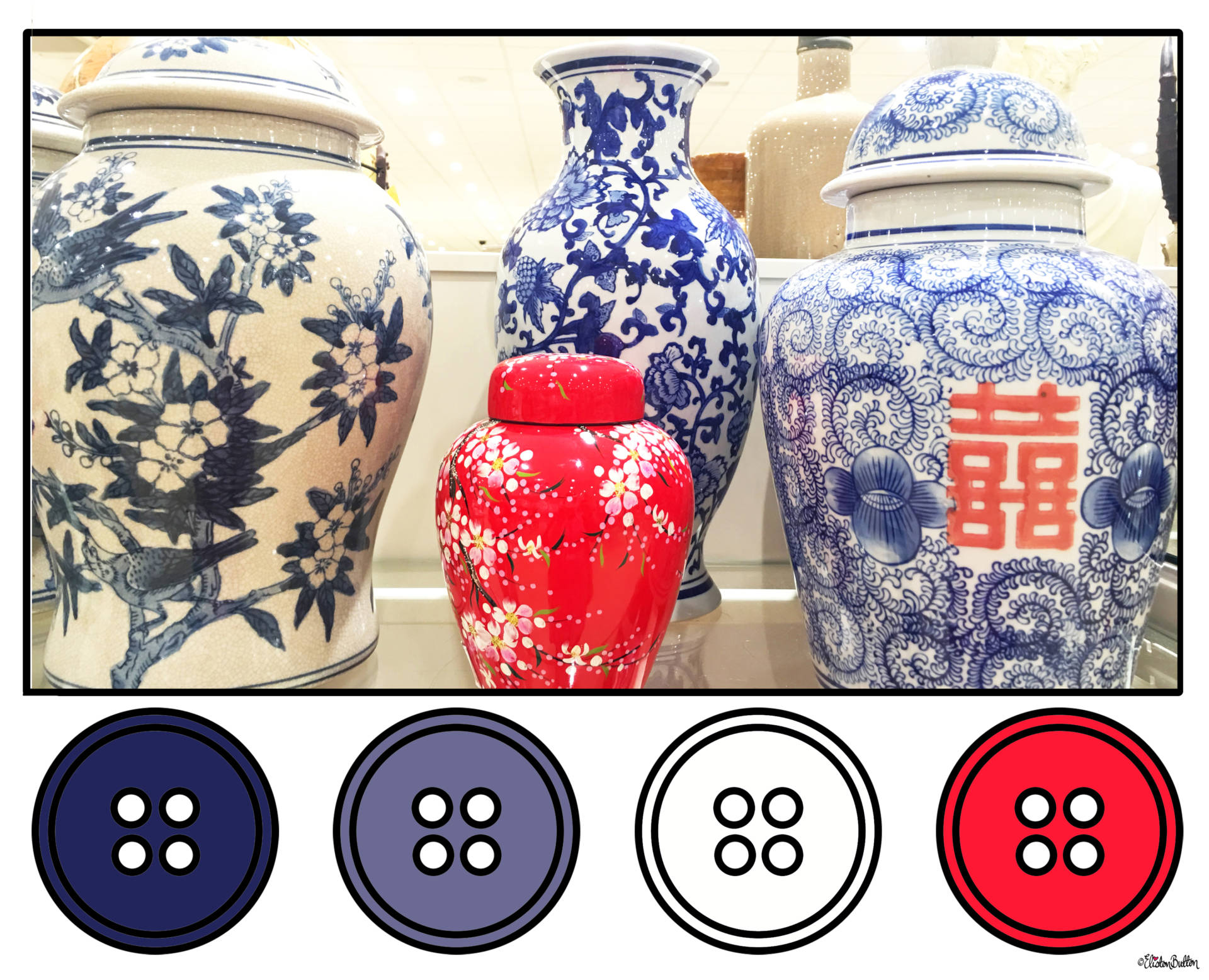 Red, White and Blue Chinese Ceramics Button Colour Palette - Button Colour Adventure – Part 4 – Goodbye Summer, Hello Autumn… at www.elistonbutton.com - Eliston Button - That Crafty Kid – Art, Design, Craft & Adventure.