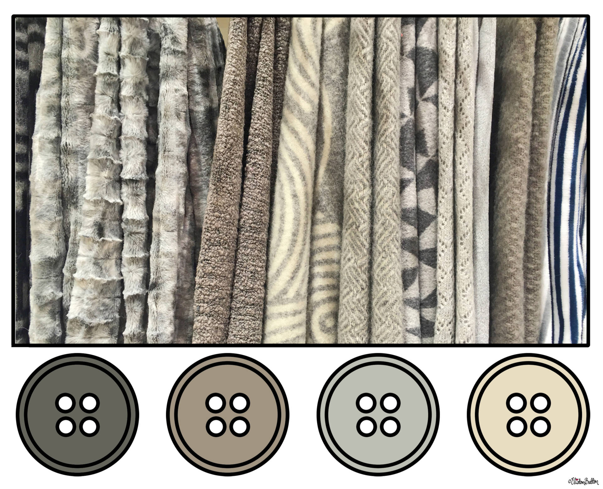 Shades of Grey and Cream Fabric Button Colour Palette - Button Colour Adventure – Part 4 – Goodbye Summer, Hello Autumn… at www.elistonbutton.com - Eliston Button - That Crafty Kid – Art, Design, Craft & Adventure.