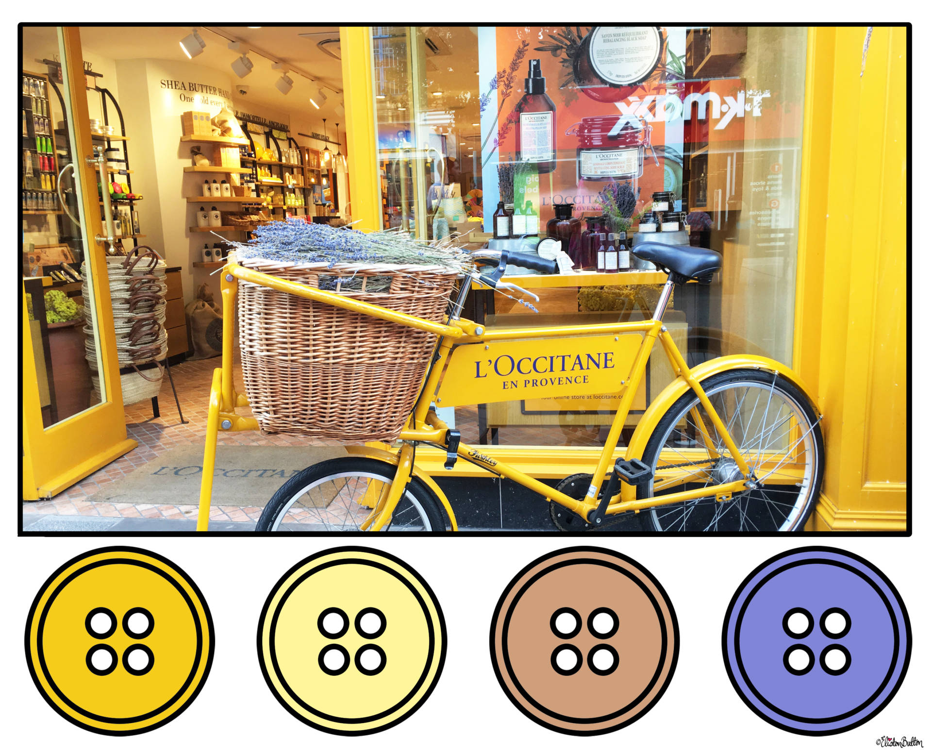 Sunshine Yellow and Lavender Shop Display in L'Occitane En Provence, Worcester, UK Button Colour Palette - Button Colour Adventure – Part 4 – Goodbye Summer, Hello Autumn… at www.elistonbutton.com - Eliston Button - That Crafty Kid – Art, Design, Craft & Adventure.