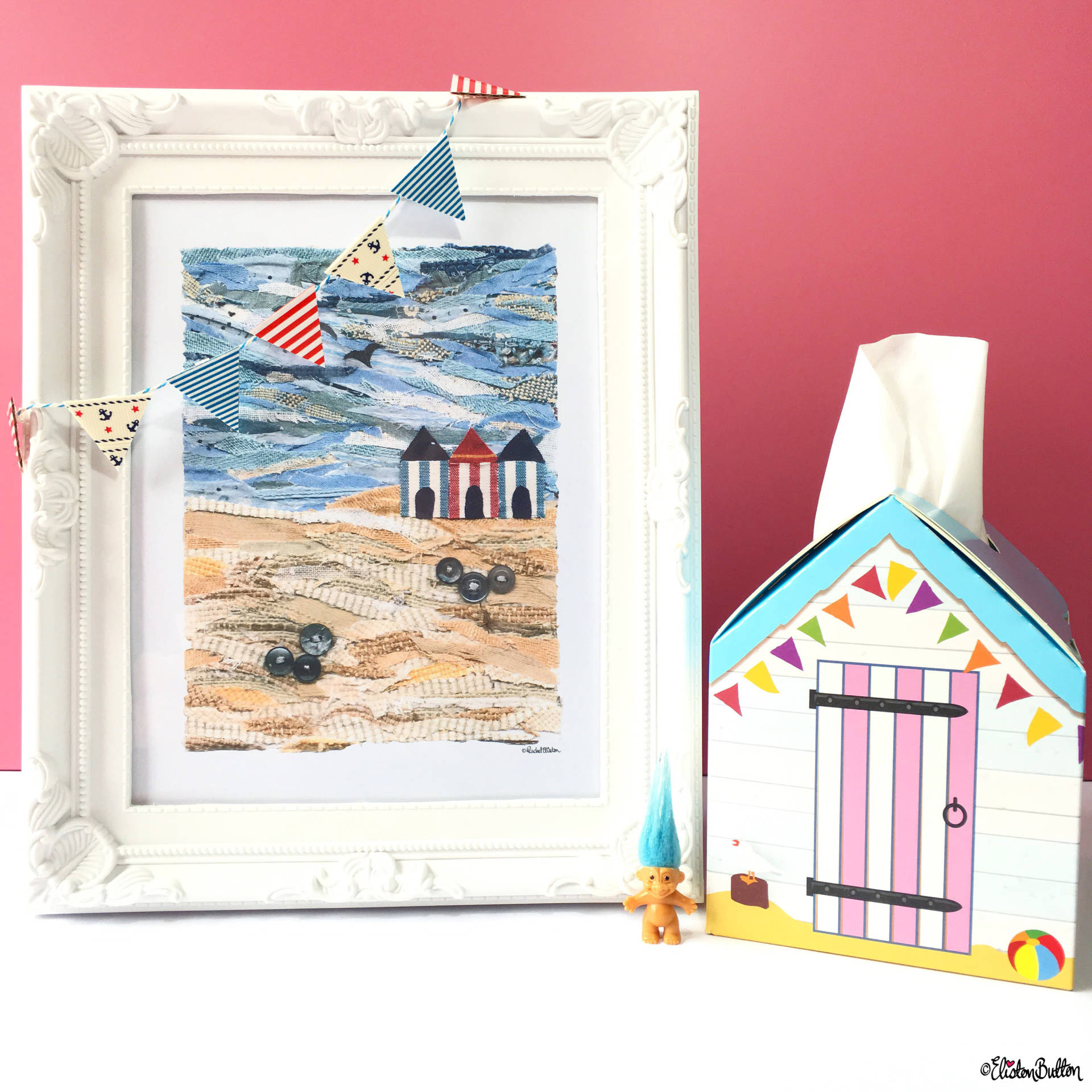 Beach Hut Seaside Fabric Collage and Beach Hut Tissue Box - Around Here…September 2016 at www.elistonbutton.com - Eliston Button - That Crafty Kid – Art, Design, Craft & Adventure.