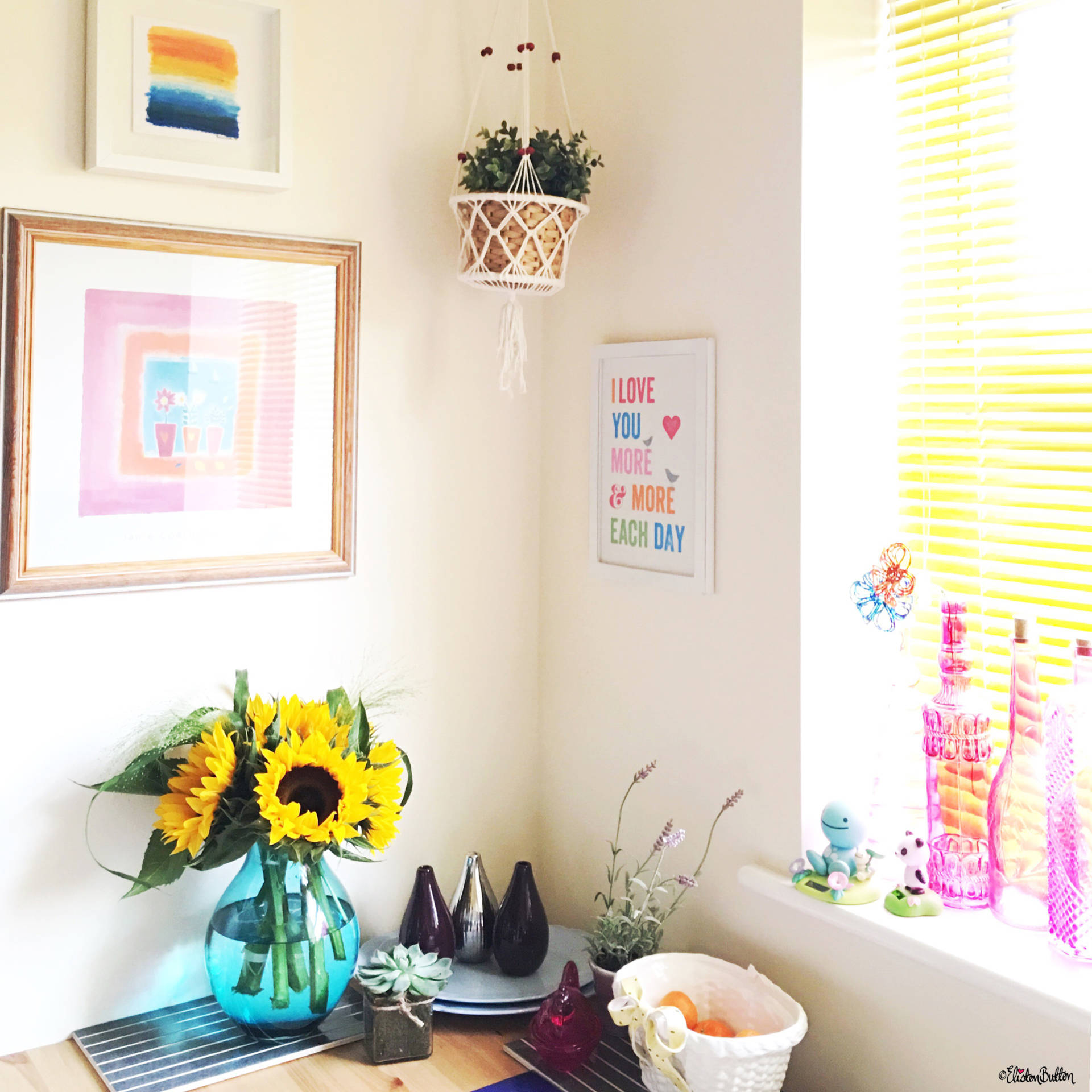 Sunny Kitchen Dining Area with Sunflowers - Around Here…September 2016 at www.elistonbutton.com - Eliston Button - That Crafty Kid – Art, Design, Craft & Adventure.