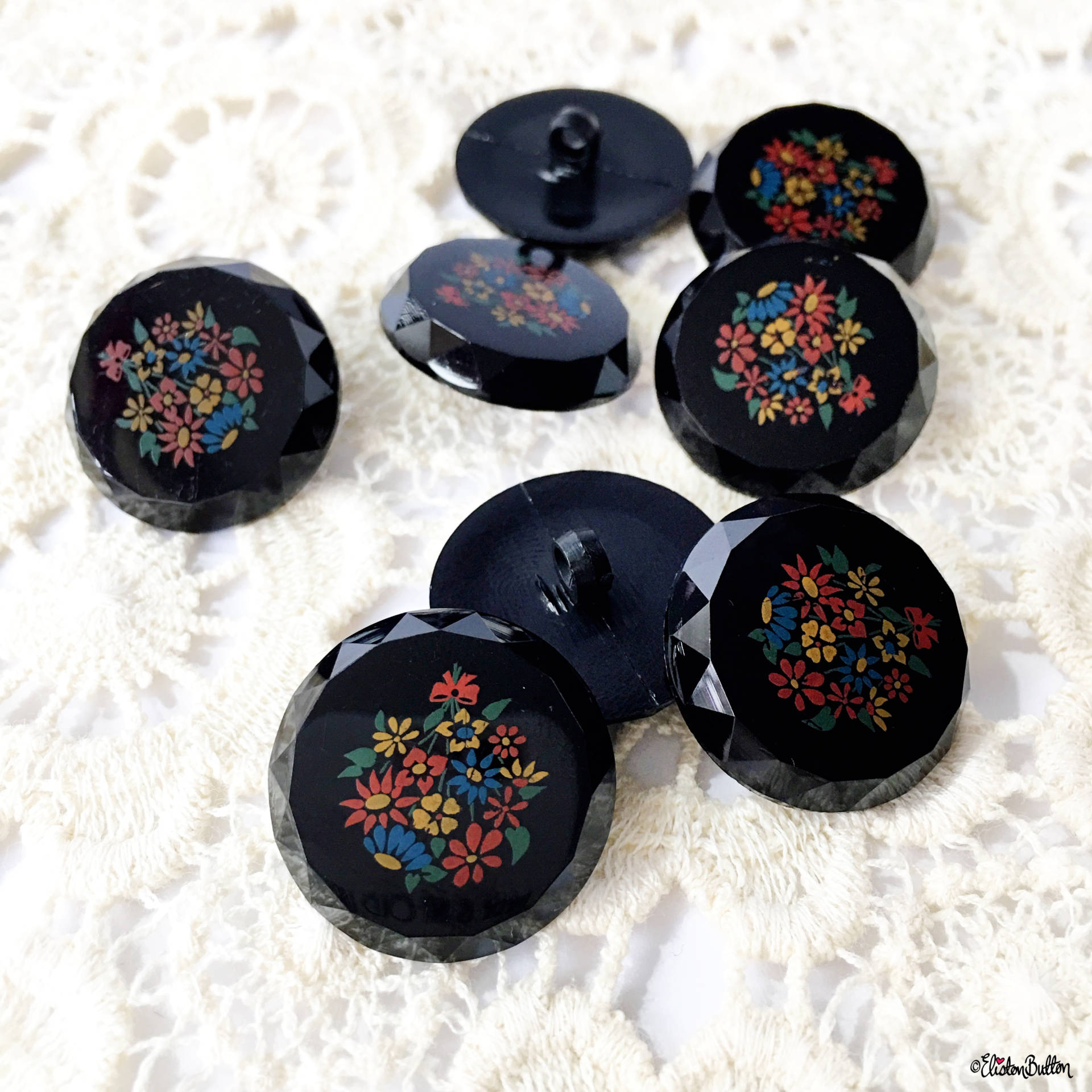 Vintage Style Floral and Multifaceted Edge Buttons - Around Here…September 2016 at www.elistonbutton.com - Eliston Button - That Crafty Kid – Art, Design, Craft & Adventure.