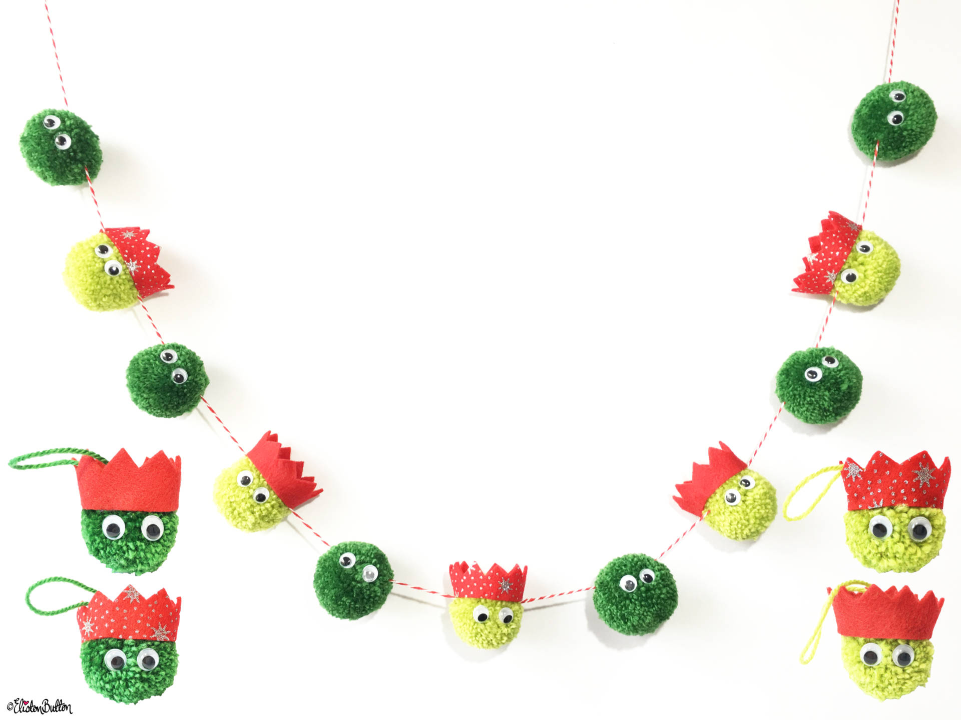 Christmas Sprout Garland and Decorations All Together - Create 30 - No. 8 & 9 - Christmas Sprout Garland and Decorations at www.elistonbutton.com - Eliston Button - That Crafty Kid – Art, Design, Craft & Adventure.