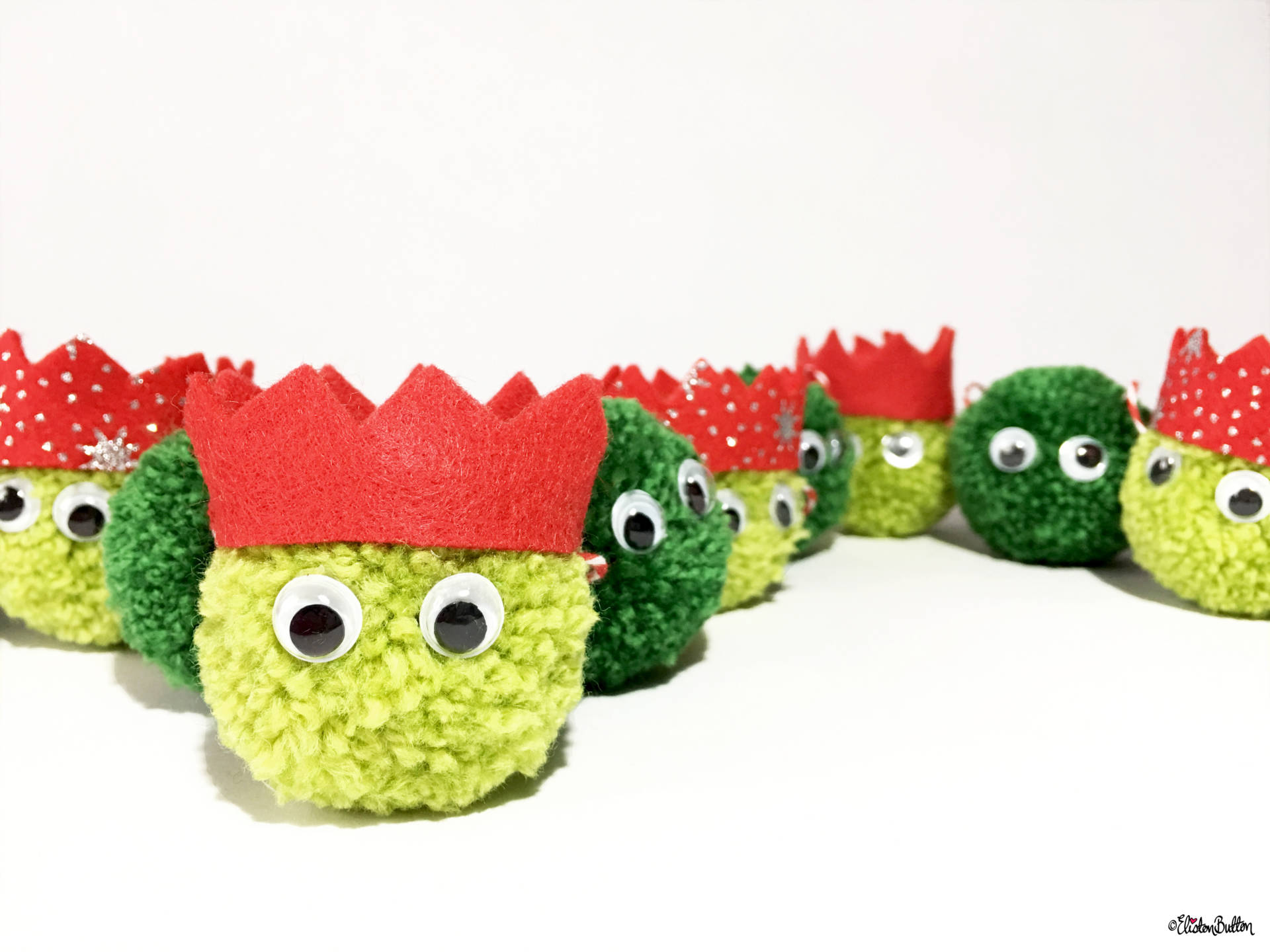 christmas sprout pom pom garland by eliston button close up create 30 no