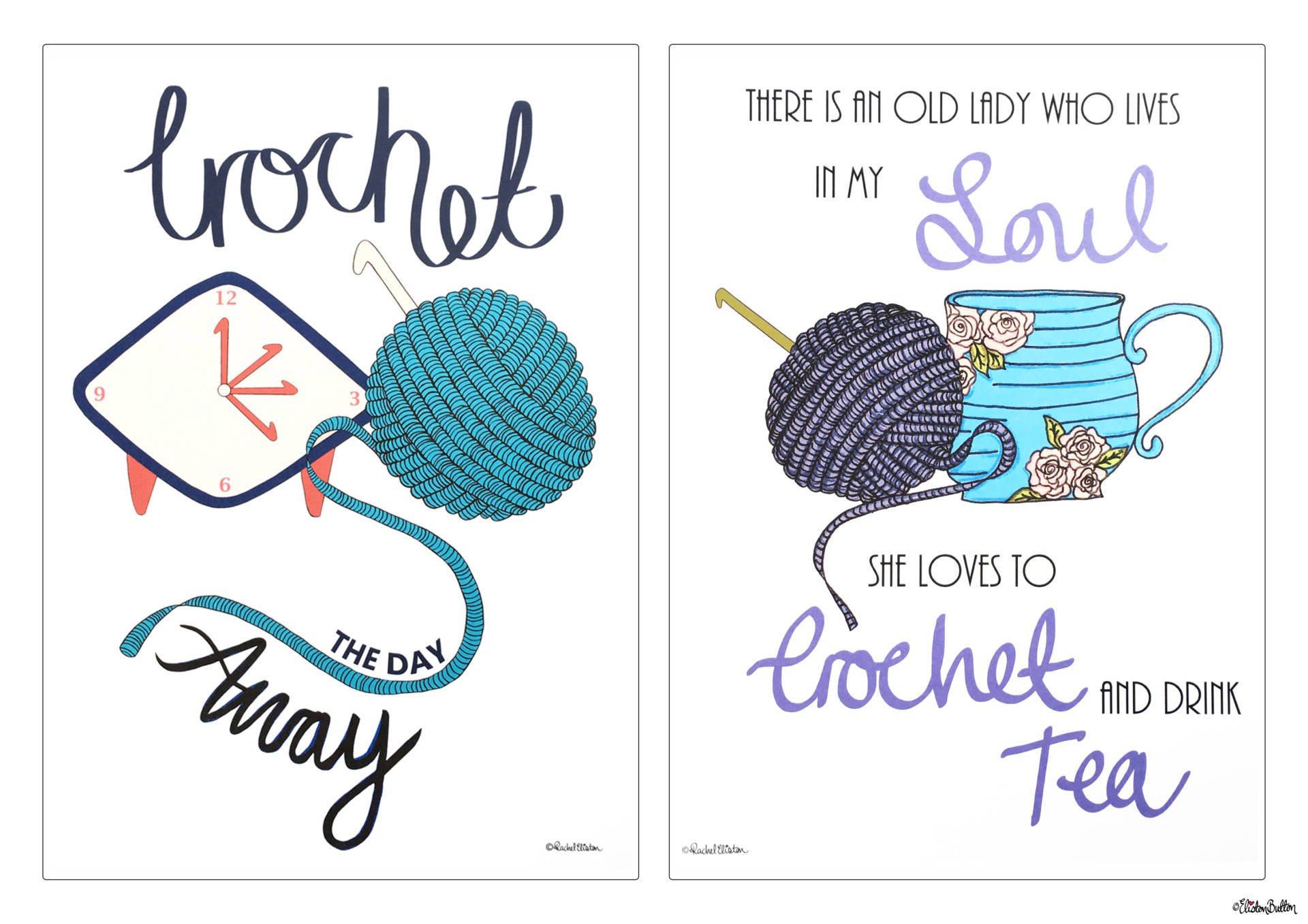 Crochet the Day Away and Crochet and Drink Tea Quote Prints by Eliston Button - Christmas Gift Guide, Last Postage Dates and a Present for You! at www.elistonbutton.com - Eliston Button - That Crafty Kid – Art, Design, Craft & Adventure.