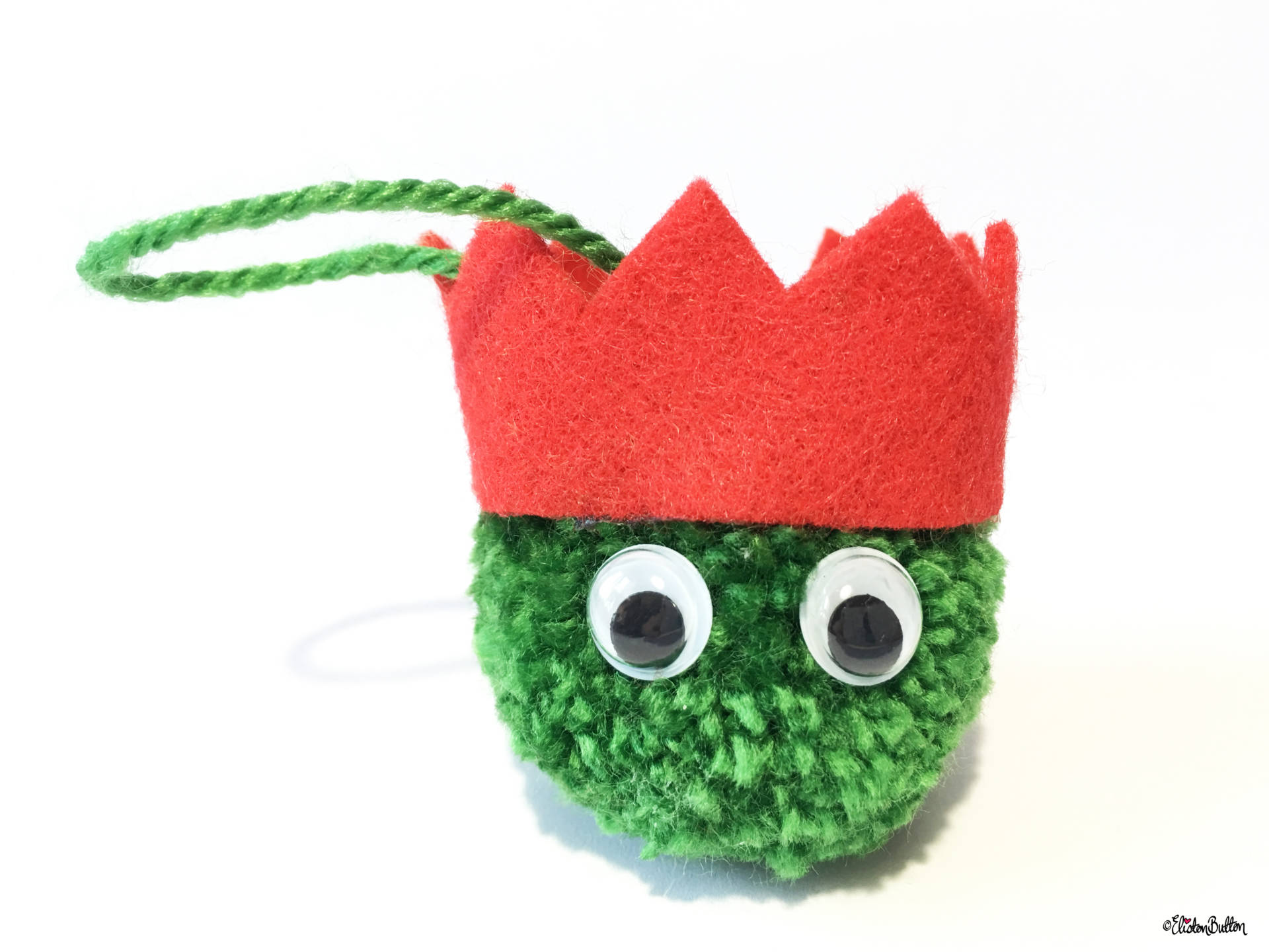 Dark Green, Red Party Hat Pom Pom Sprout Christmas Decoration - Create 30 - No. 8 & 9 - Christmas Sprout Garland and Decorations at www.elistonbutton.com - Eliston Button - That Crafty Kid – Art, Design, Craft & Adventure.