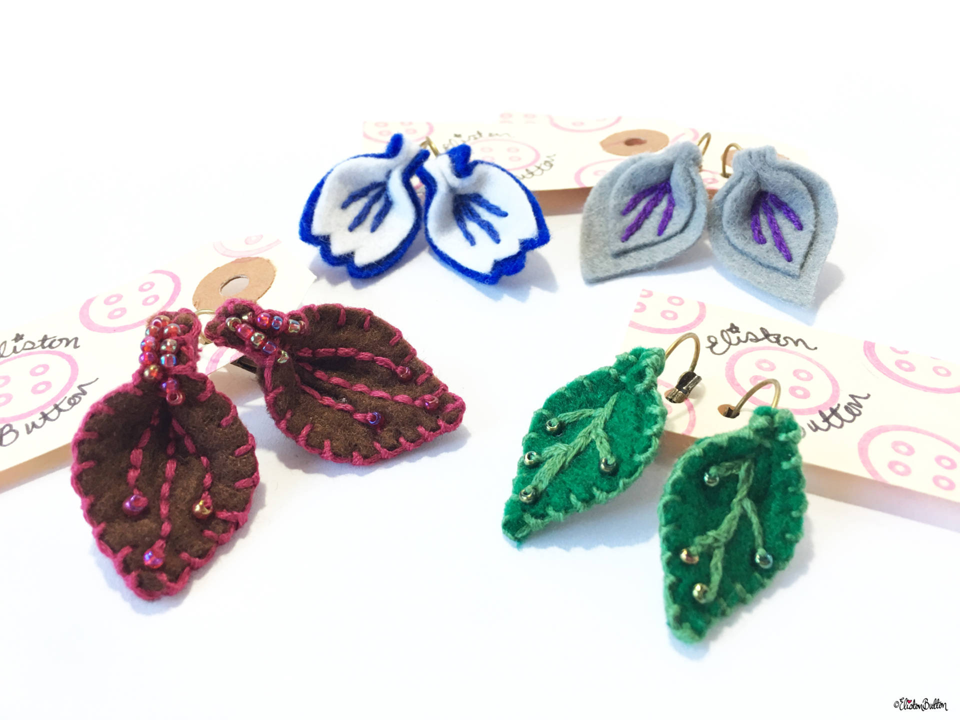 Embroidered Felt and Beaded Handmade Earrings by Eliston Button - Christmas Gift Guide, Last Postage Dates and a Present for You! at www.elistonbutton.com - Eliston Button - That Crafty Kid – Art, Design, Craft & Adventure.