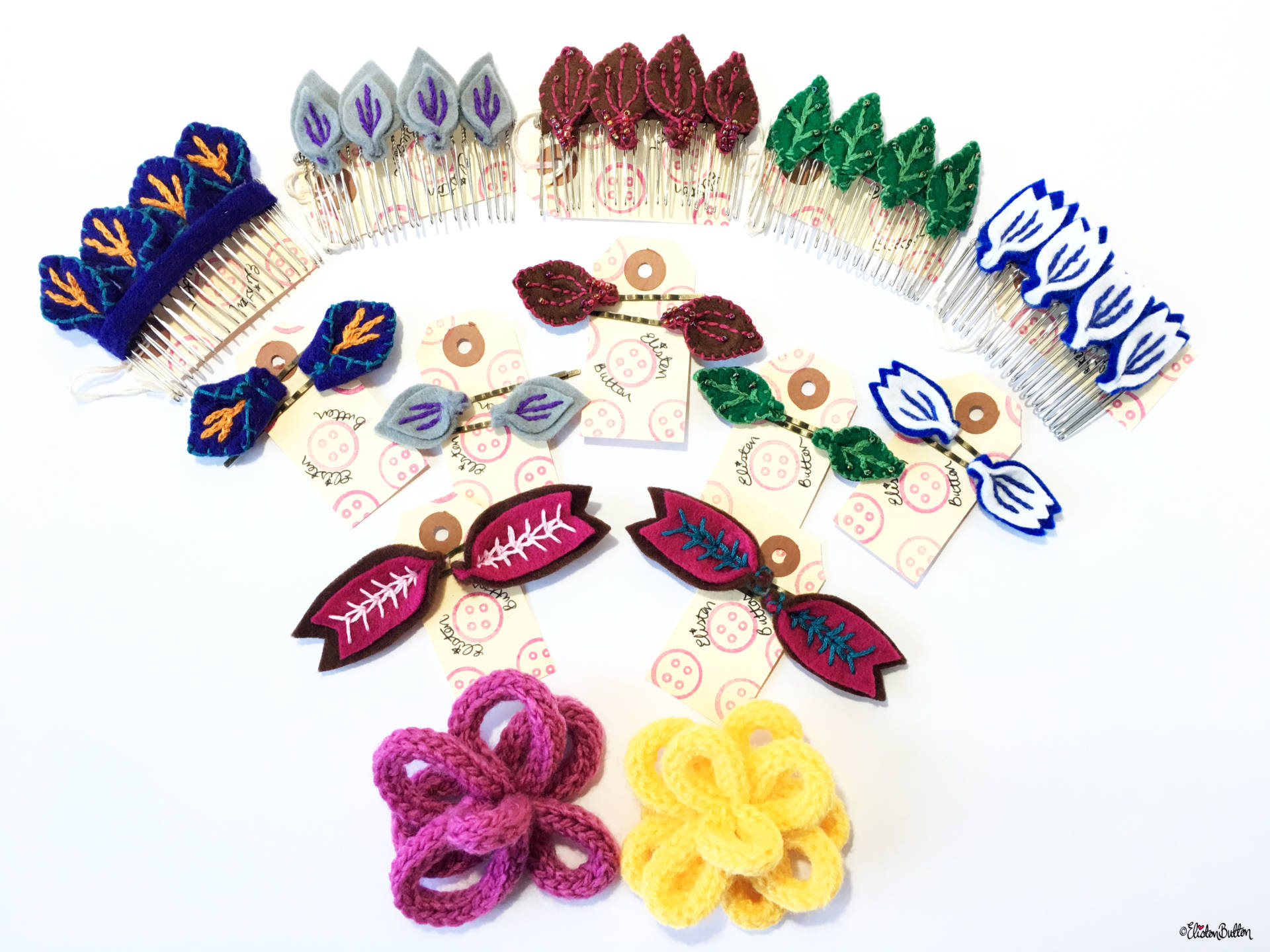 Embroidered Felt and French Knittted Hair Accessories by Eliston Button - Christmas Gift Guide, Last Postage Dates and a Present for You! at www.elistonbutton.com - Eliston Button - That Crafty Kid – Art, Design, Craft & Adventure.