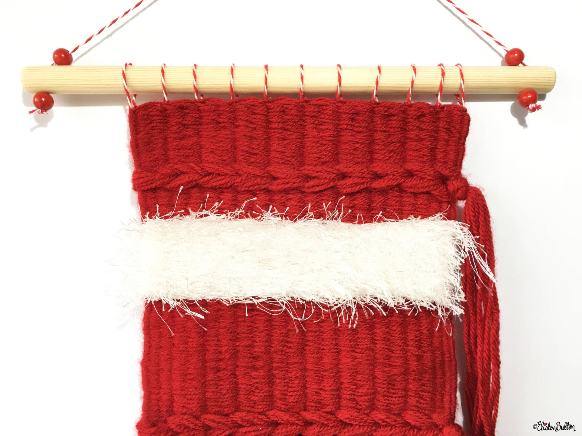 Festive Woven Wall Hanging - Top Section - Red with White Fluffy Yarn - Create 30 - No. 10 - Festive Woven Wall Hanging at www.elistonbutton.com - Eliston Button - That Crafty Kid – Art, Design, Craft & Adventure.