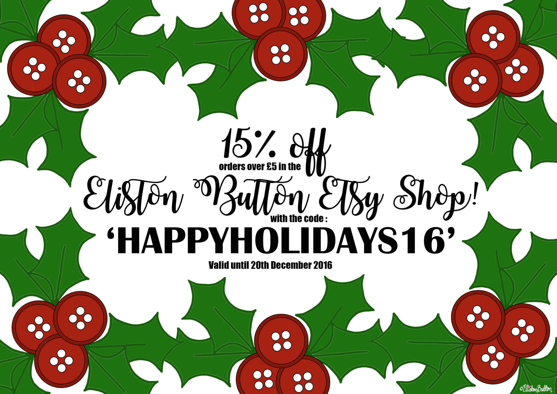 Happy Holidays Discount Code for the Eliston Button Etsy Shop - Christmas Gift Guide, Last Postage Dates and a Present for You!