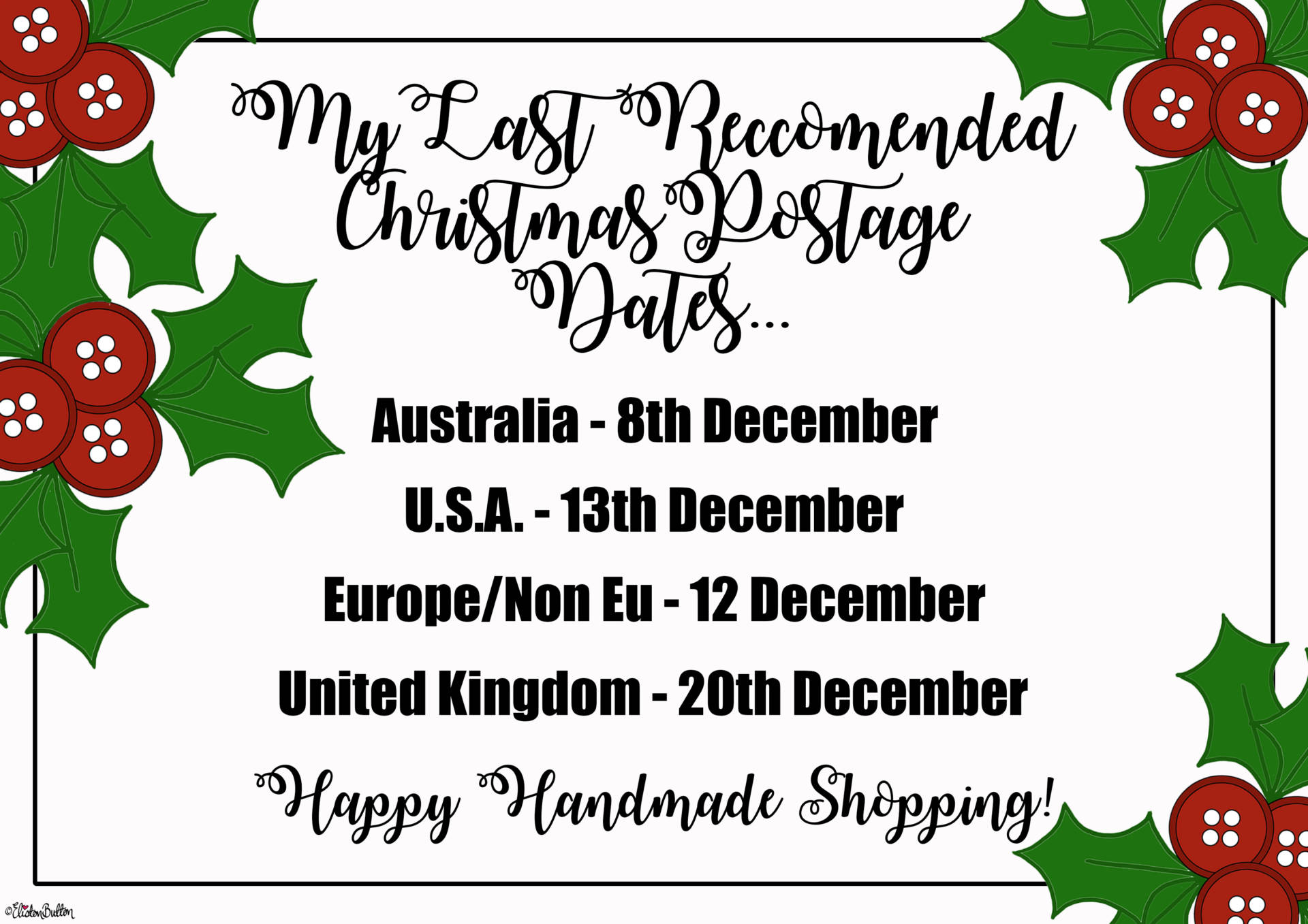 Last Reccomended Postage Dates for the Eliston Button Etsy Shop - Christmas Gift Guide, Last Postage Dates and a Present for You!