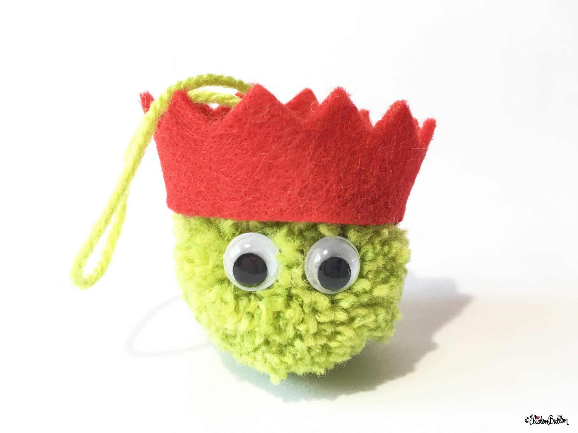 Light Green, Red Party Hat Pom Pom Sprout Christmas Decoration - Create 30 - No. 8 & 9 - Christmas Sprout Garland and Decorations at www.elistonbutton.com - Eliston Button - That Crafty Kid – Art, Design, Craft & Adventure.