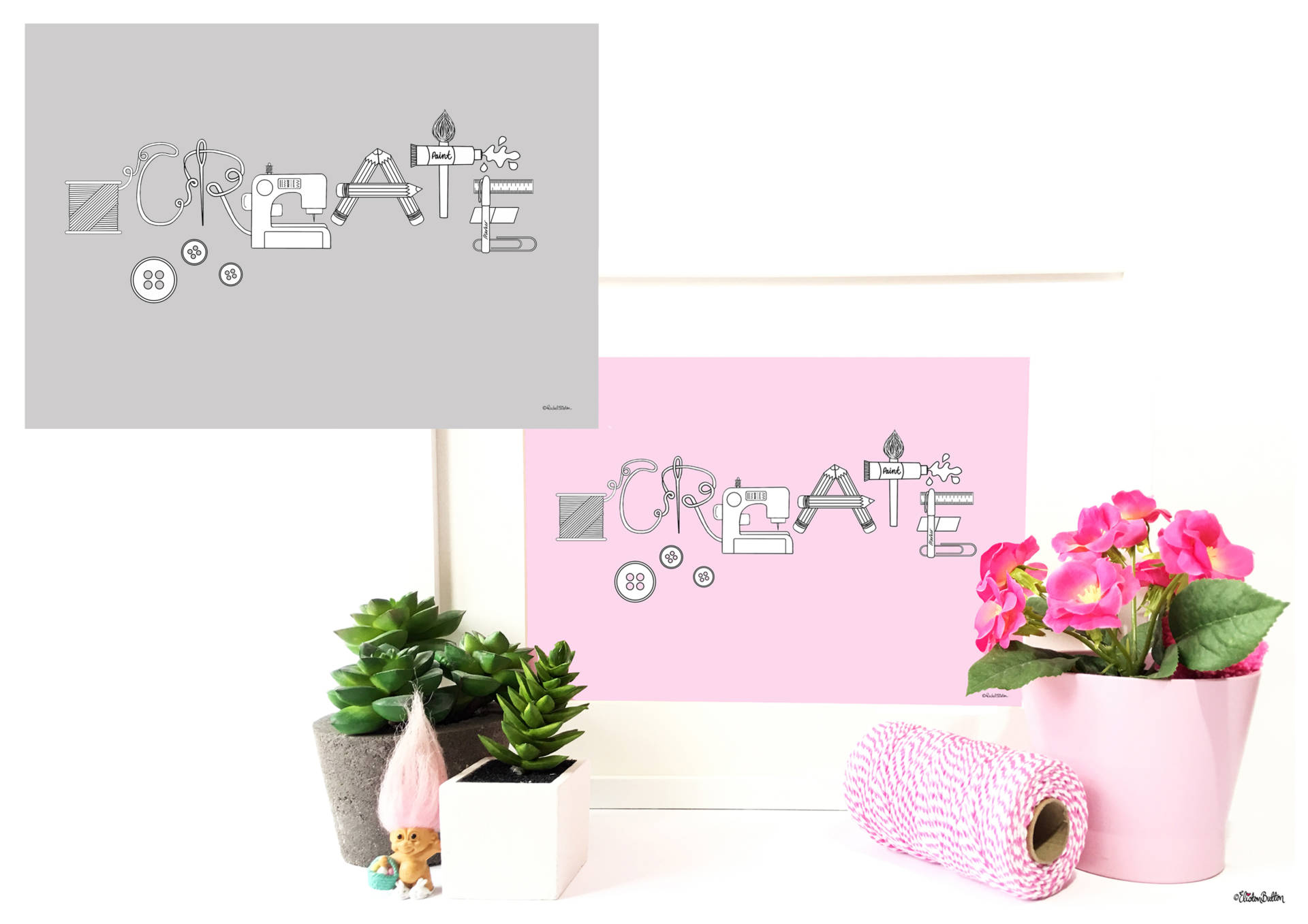 Pink and Grey Create Word Art Prints - by Eliston Button - Create 30 - No. 11 - Create Word Art Prints at www.elistonbutton.com - Eliston Button - That Crafty Kid – Art, Design, Craft & Adventure.