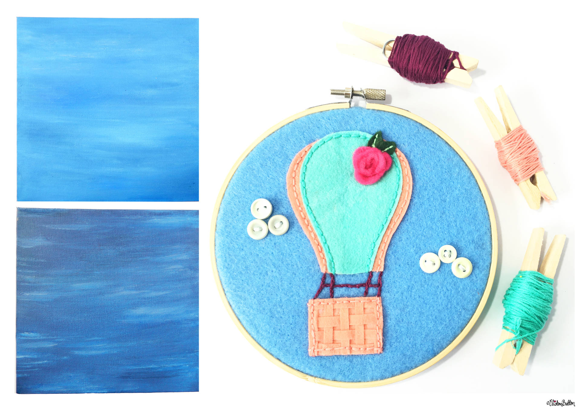 Sea and Sky Painted Canvases and Hot Air Balloon Embroidery Hoop by Eliston Button - Christmas Gift Guide, Last Postage Dates and a Present for You! at www.elistonbutton.com - Eliston Button - That Crafty Kid – Art, Design, Craft & Adventure.