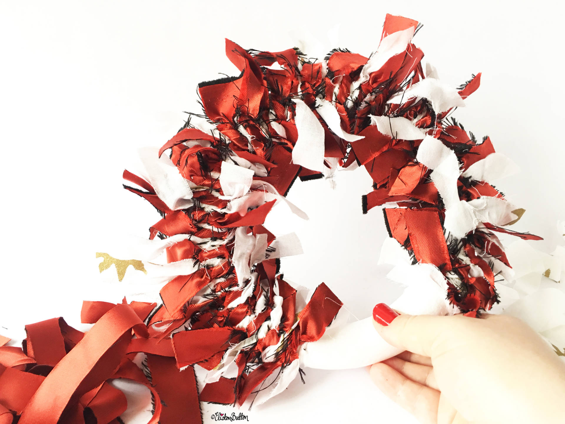 ...And Going... - Tutorial Tuesday - Fabric Scrap Christmas Wreath at www.elistonbutton.com - Eliston Button - That Crafty Kid – Art, Design, Craft & Adventure.