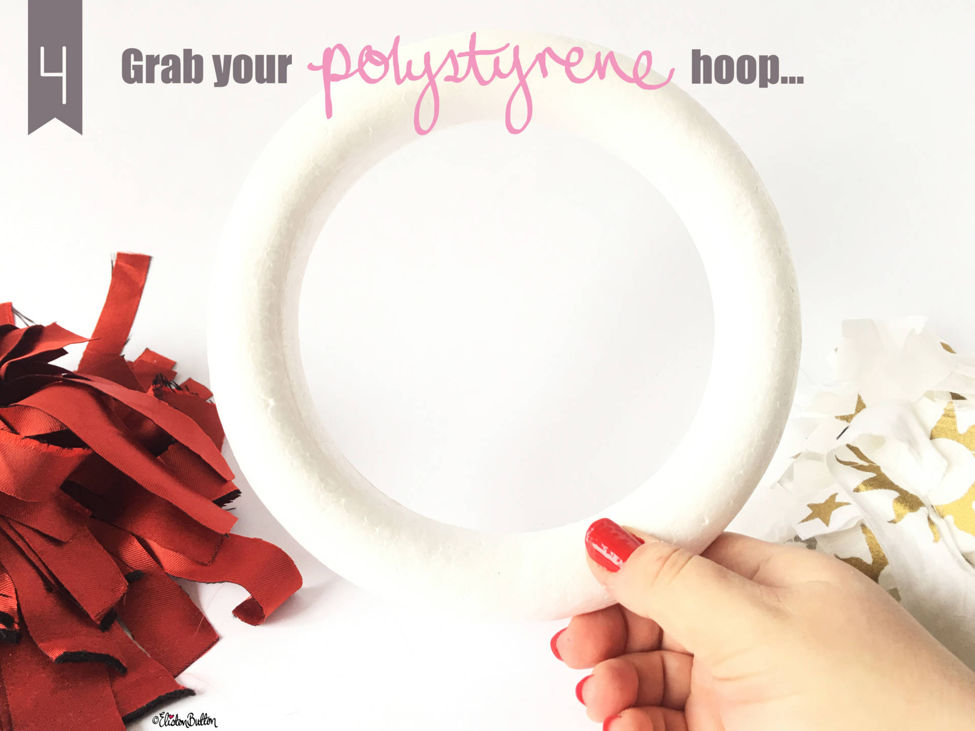 Grab your Polystyrene Hoop - Tutorial Tuesday - Fabric Scrap Christmas Wreath at www.elistonbutton.com - Eliston Button - That Crafty Kid – Art, Design, Craft & Adventure.