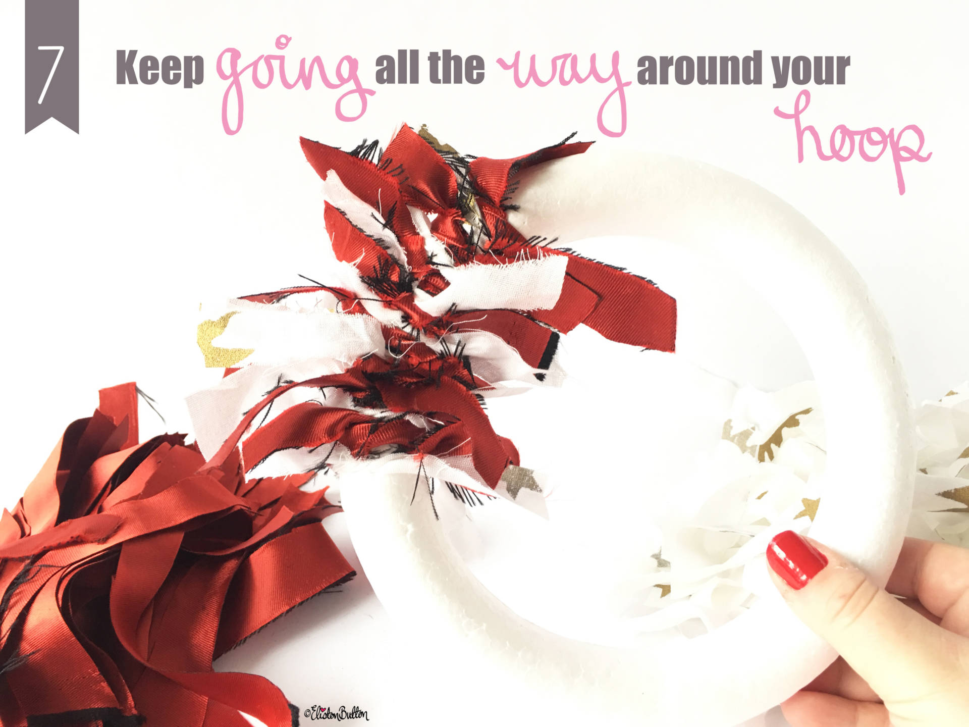 Keep Going! - Tutorial Tuesday - Fabric Scrap Christmas Wreath at www.elistonbutton.com - Eliston Button - That Crafty Kid – Art, Design, Craft & Adventure.