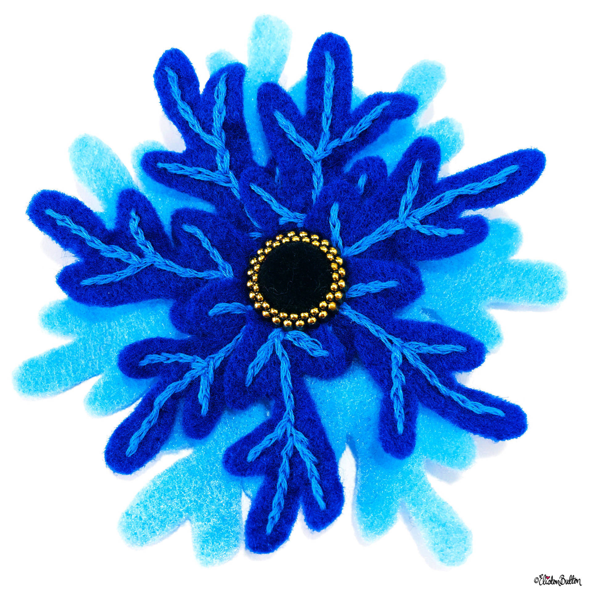 Embroidered Felt Frozen Snowflake Brooch by Eliston Button on Etsy - For the Love of…Christmas at www.elistonbutton.com - Eliston Button - That Crafty Kid – Art, Design, Craft & Adventure.