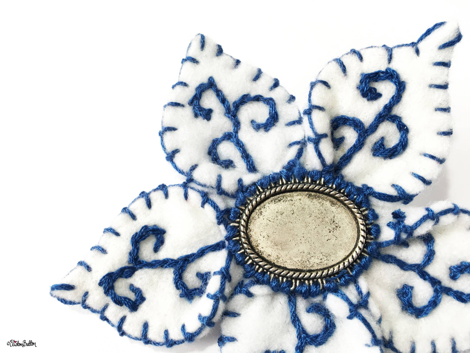 Blue and White Embroidered Felt Flower Brooch by Eliston Button Close Up - Create 30 - No. 14 - Blue and White Embroidered Felt Flower Brooch at www.elistonbutton.com - Eliston Button - That Crafty Kid – Art, Design, Craft & Adventure.