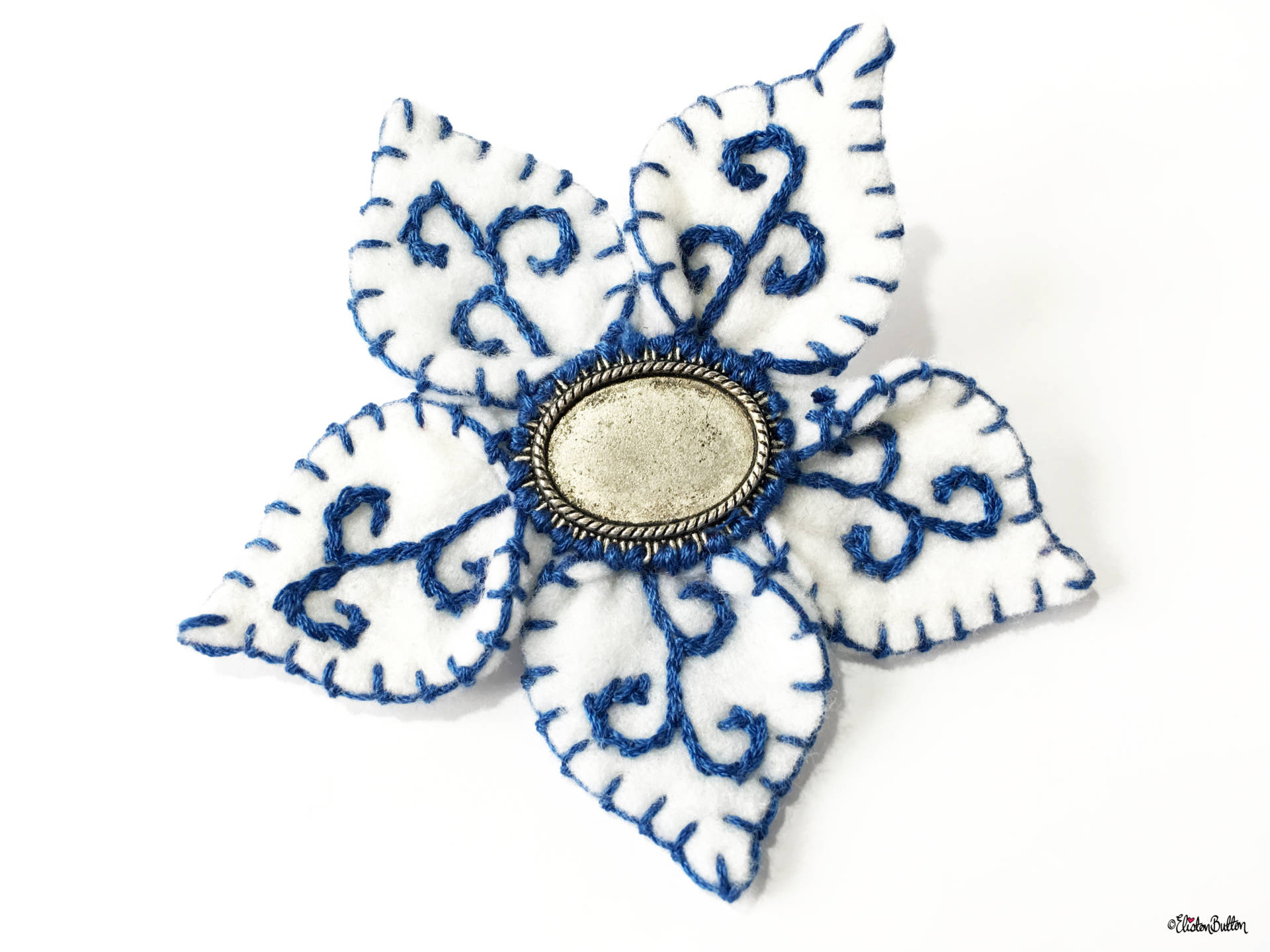Blue and White Embroidered Felt Flower Brooch by Eliston Button - Create 30 - No. 14 - Blue and White Embroidered Felt Flower Brooch at www.elistonbutton.com - Eliston Button - That Crafty Kid – Art, Design, Craft & Adventure.