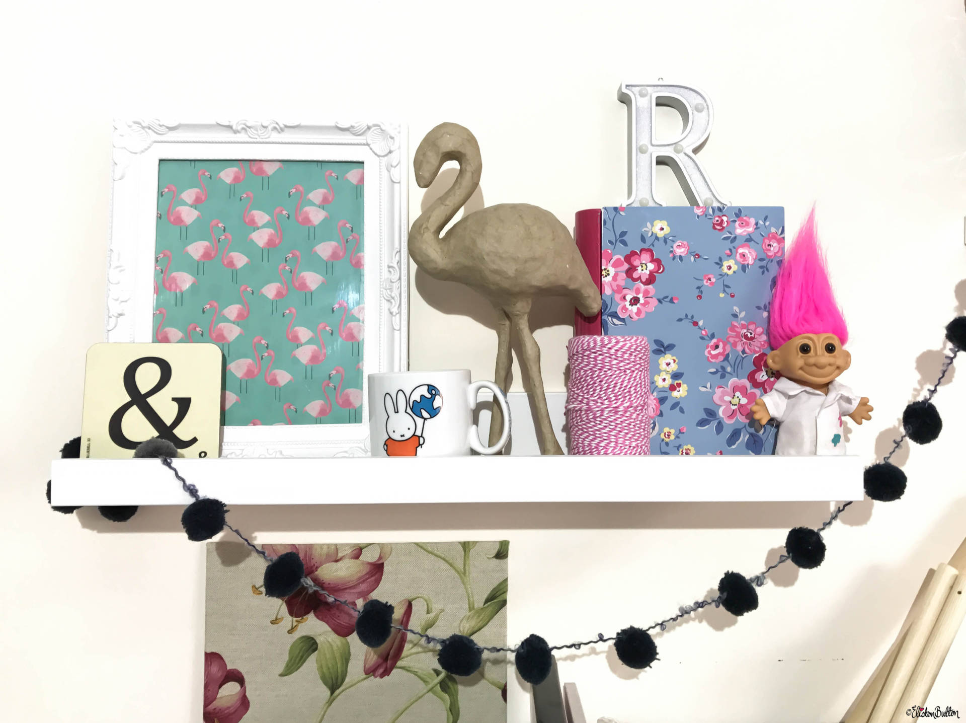 Eliston Button Headquarters - Creative Craft Studio - Paper Mache Flamingo, Miffy Mug, Troll and Pom Pom Garland - Eliston Button Headquarters – Part Two at www.elistonbutton.com - Eliston Button - That Crafty Kid – Art, Design, Craft & Adventure.