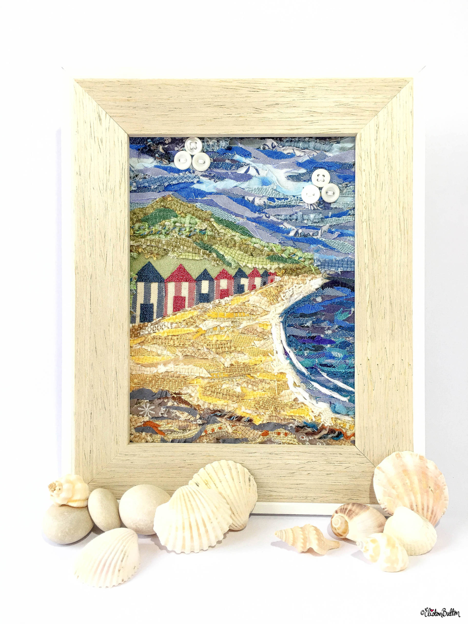 'Beach Huts by the Sea' Original Seaside Fabric Collage by Eliston Button - Create 30 – No. 16 & 17 – Seaside Fabric Collages at www.elistonbutton.com - Eliston Button - That Crafty Kid – Art, Design, Craft & Adventure.