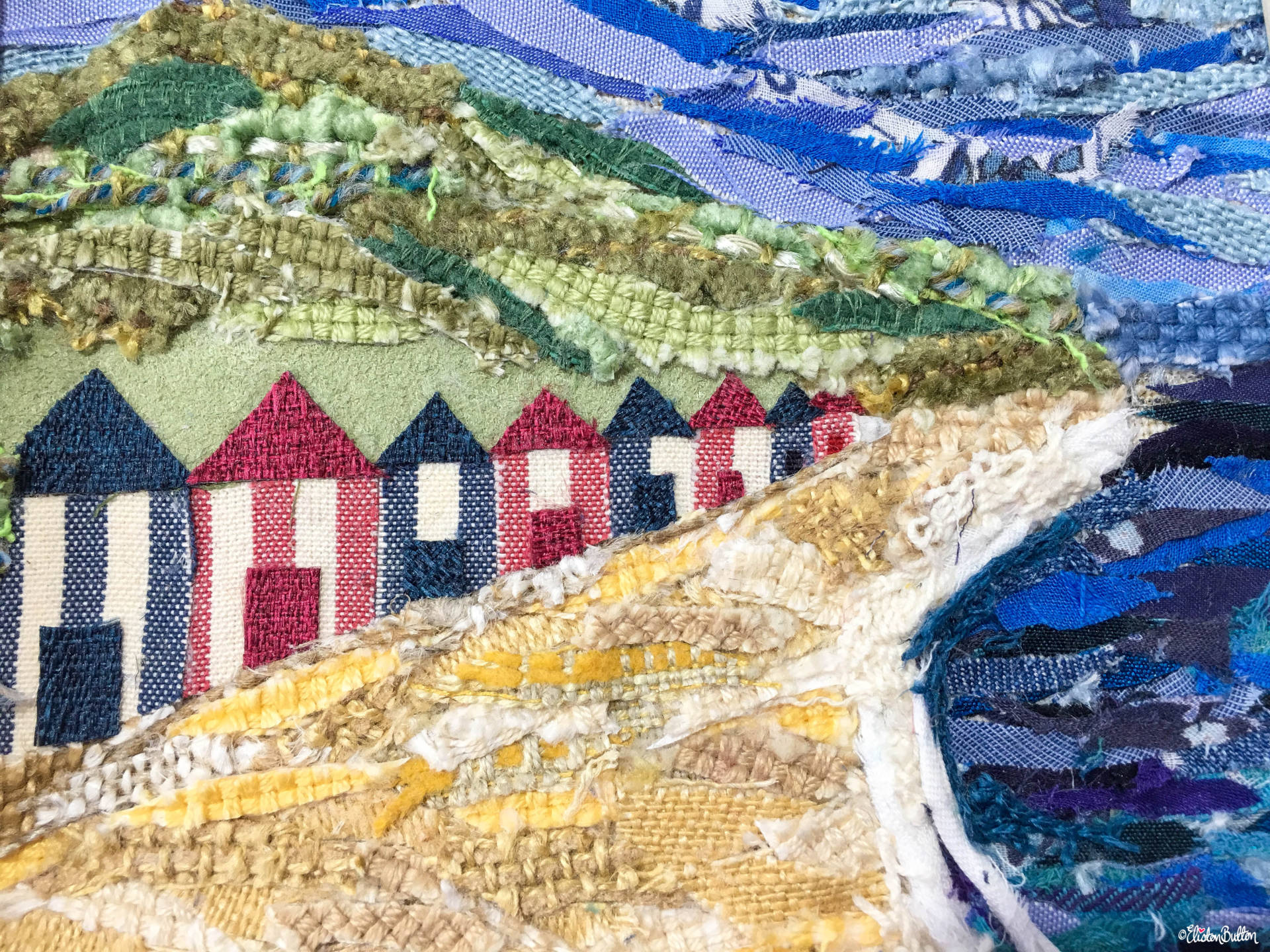Original 'Beach Huts by the Sea' Original Seaside Fabric Collage by Eliston Button - Fabric Texture Close Up - Create 30 – No. 16 & 17 – Seaside Fabric Collages at www.elistonbutton.com - Eliston Button - That Crafty Kid – Art, Design, Craft & Adventure.