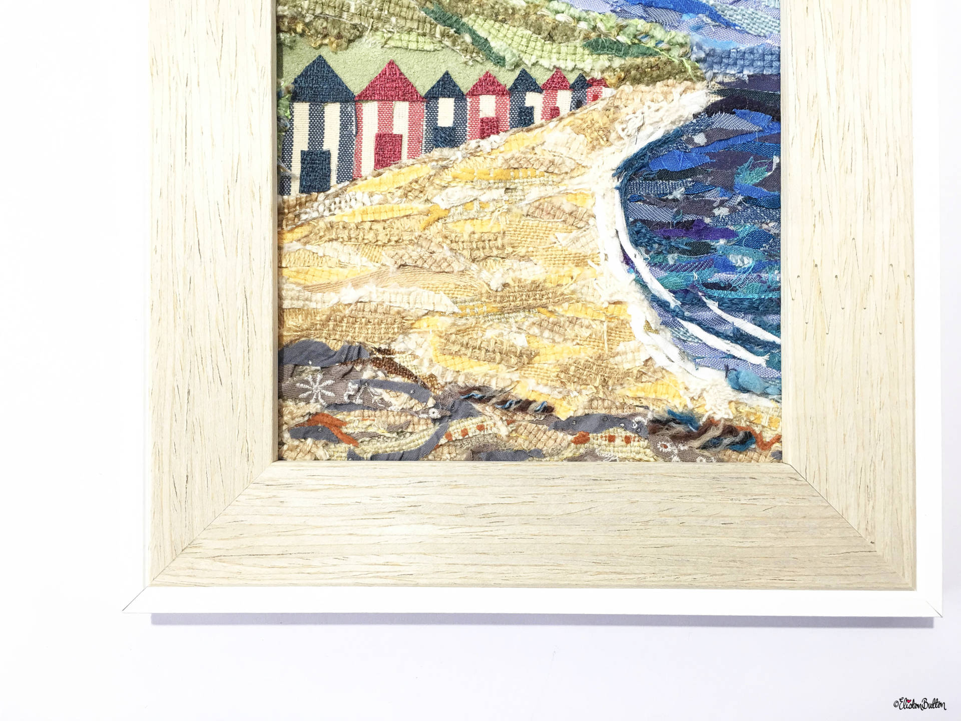 Original 'Beach Huts by the Sea' Original Seaside Fabric Collage by Eliston Button - Frame Close Up - Create 30 – No. 16 & 17 – Seaside Fabric Collages at www.elistonbutton.com - Eliston Button - That Crafty Kid – Art, Design, Craft & Adventure.