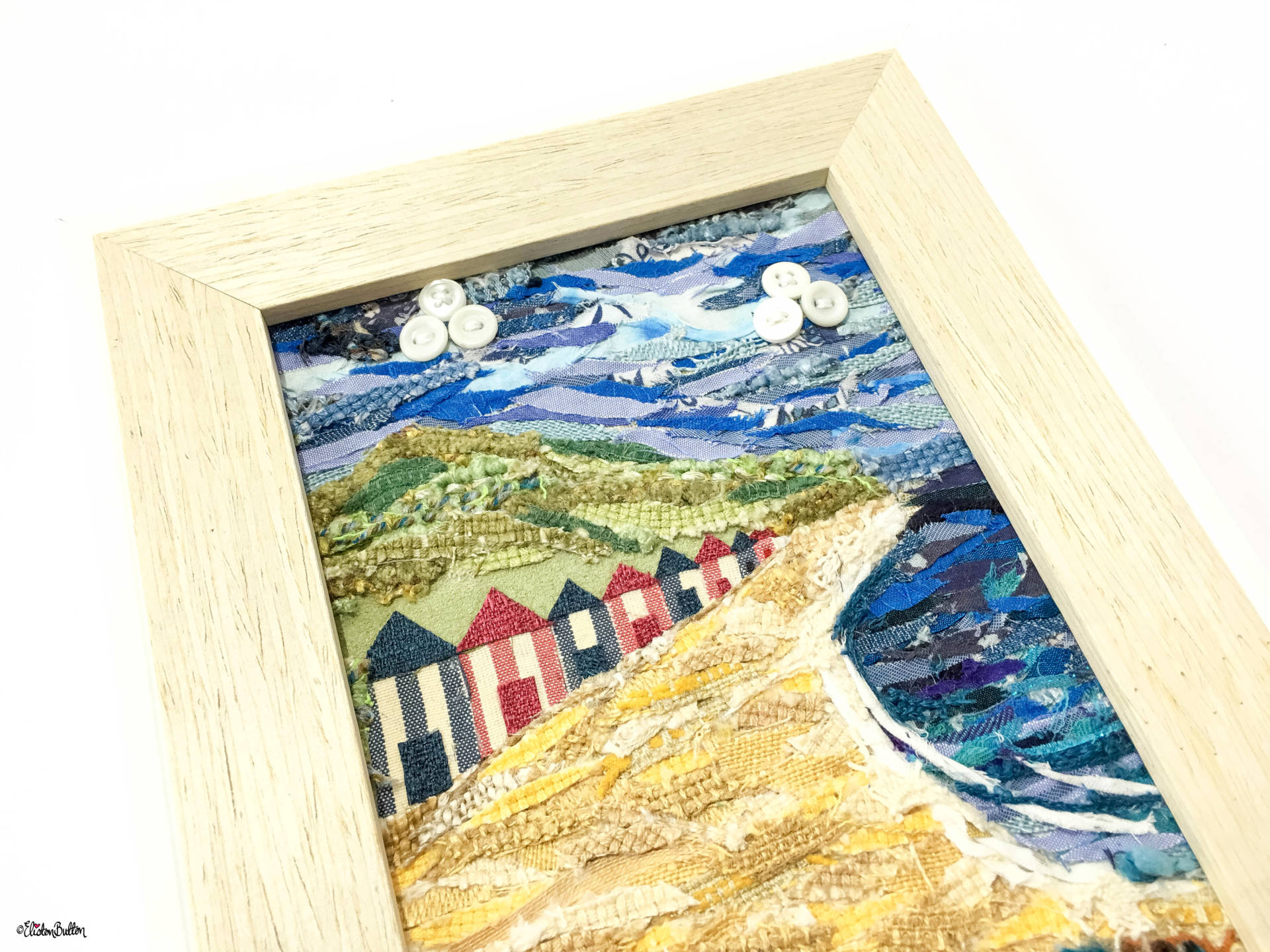 Original 'Beach Huts by the Sea' Original Seaside Fabric Collage by Eliston Button Texture View - Create 30 – No. 16 & 17 – Seaside Fabric Collages at www.elistonbutton.com - Eliston Button - That Crafty Kid – Art, Design, Craft & Adventure.
